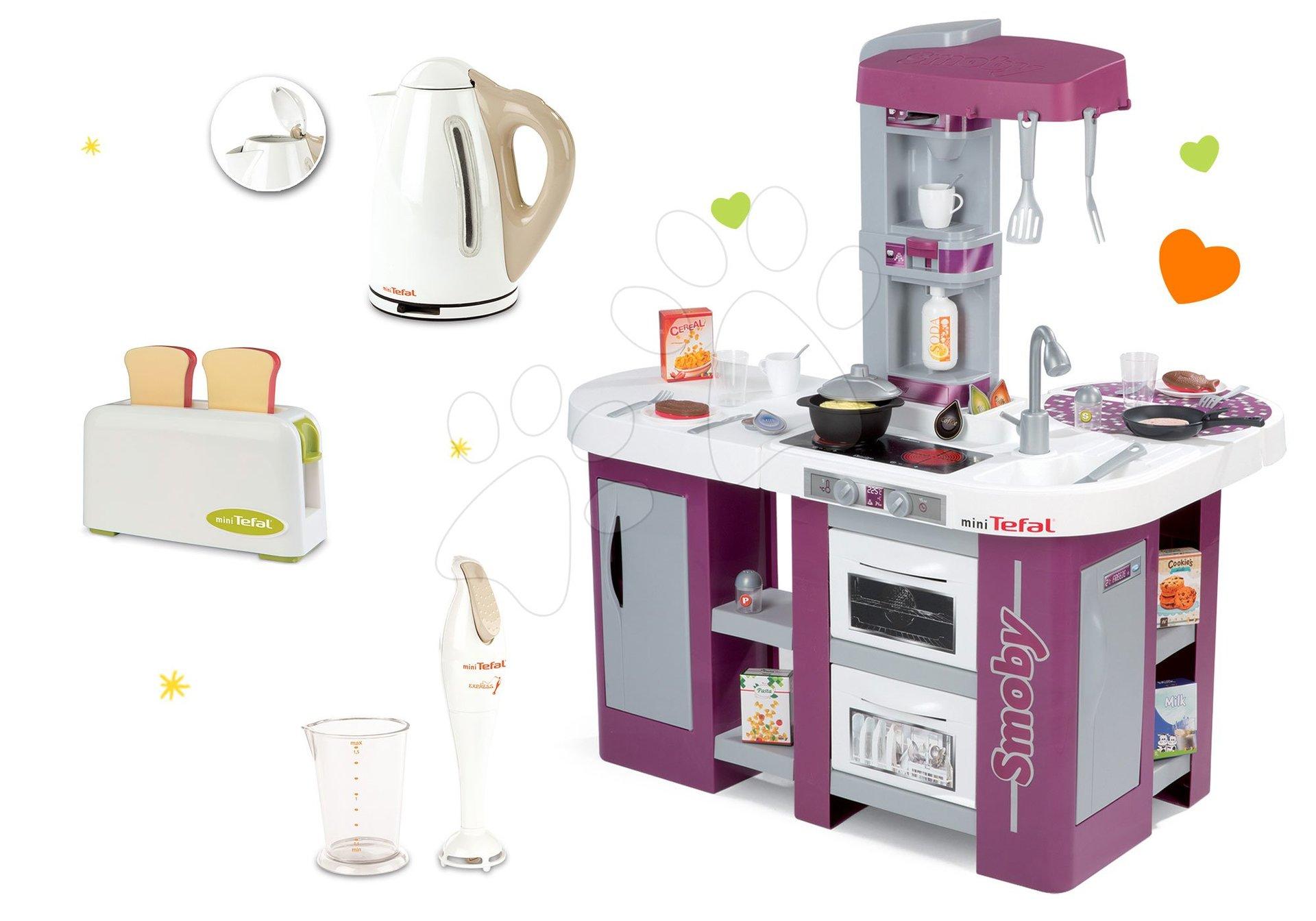 Kuchynky pre deti sety - Set kuchynka Tefal Studio XL Smoby s umývačkou riadu a chladničkou a 3 kuchynské spotrebiče