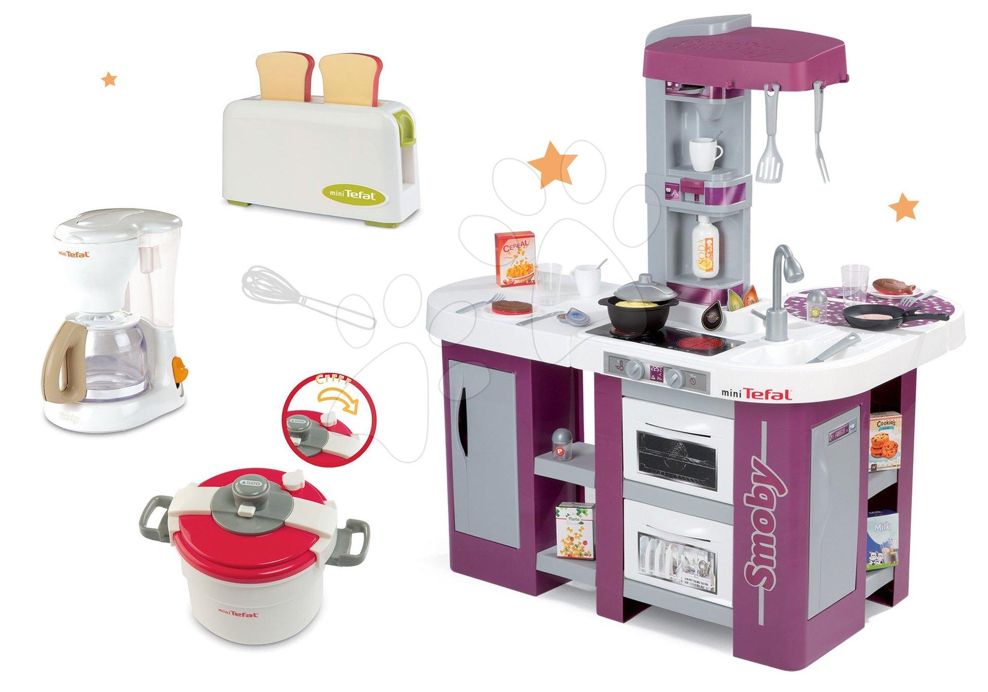 Kuchynky pre deti sety - Set kuchynka Tefal Studio XL Smoby s umývačkou riadu a chladničkou a súprava 3 spotrebičov Tefal