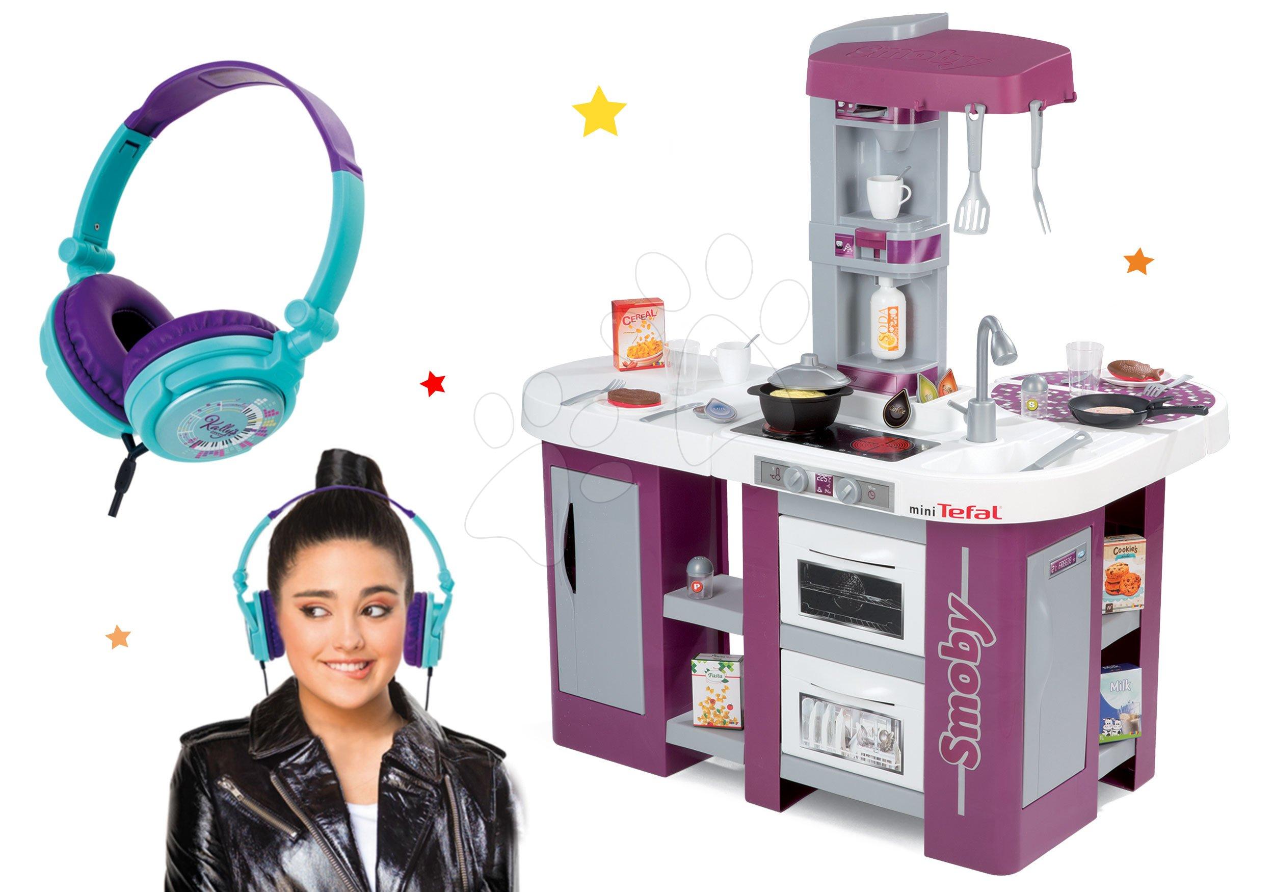 Set kuchynka Tefal Studio XL Smoby s umývačkou riadu a chladničkou a slúchadlá Kally´s Mashup