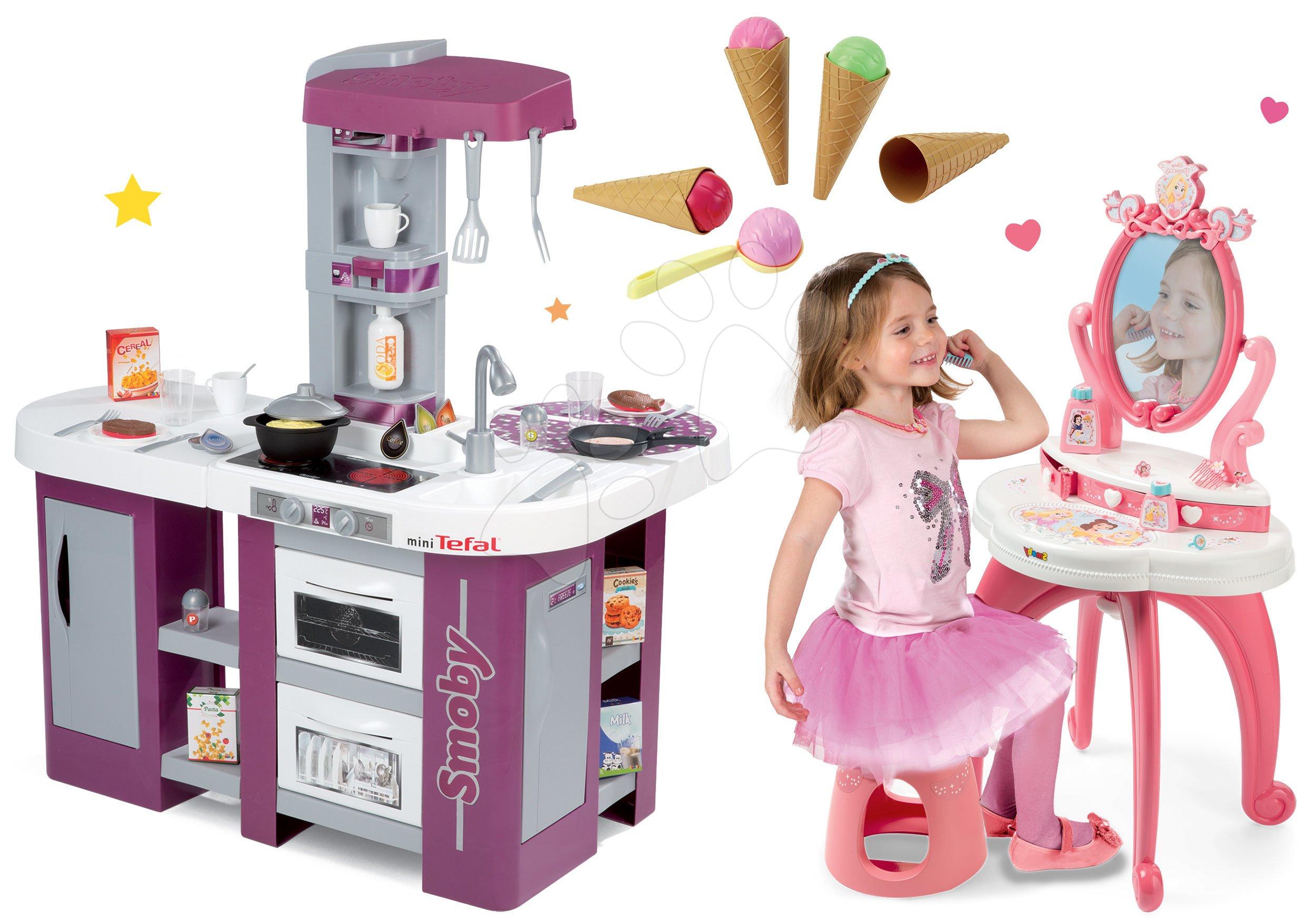 Set kuchyňka Tefal Studio XL Smoby a kosmetický stolek Princezny a zmrzlina