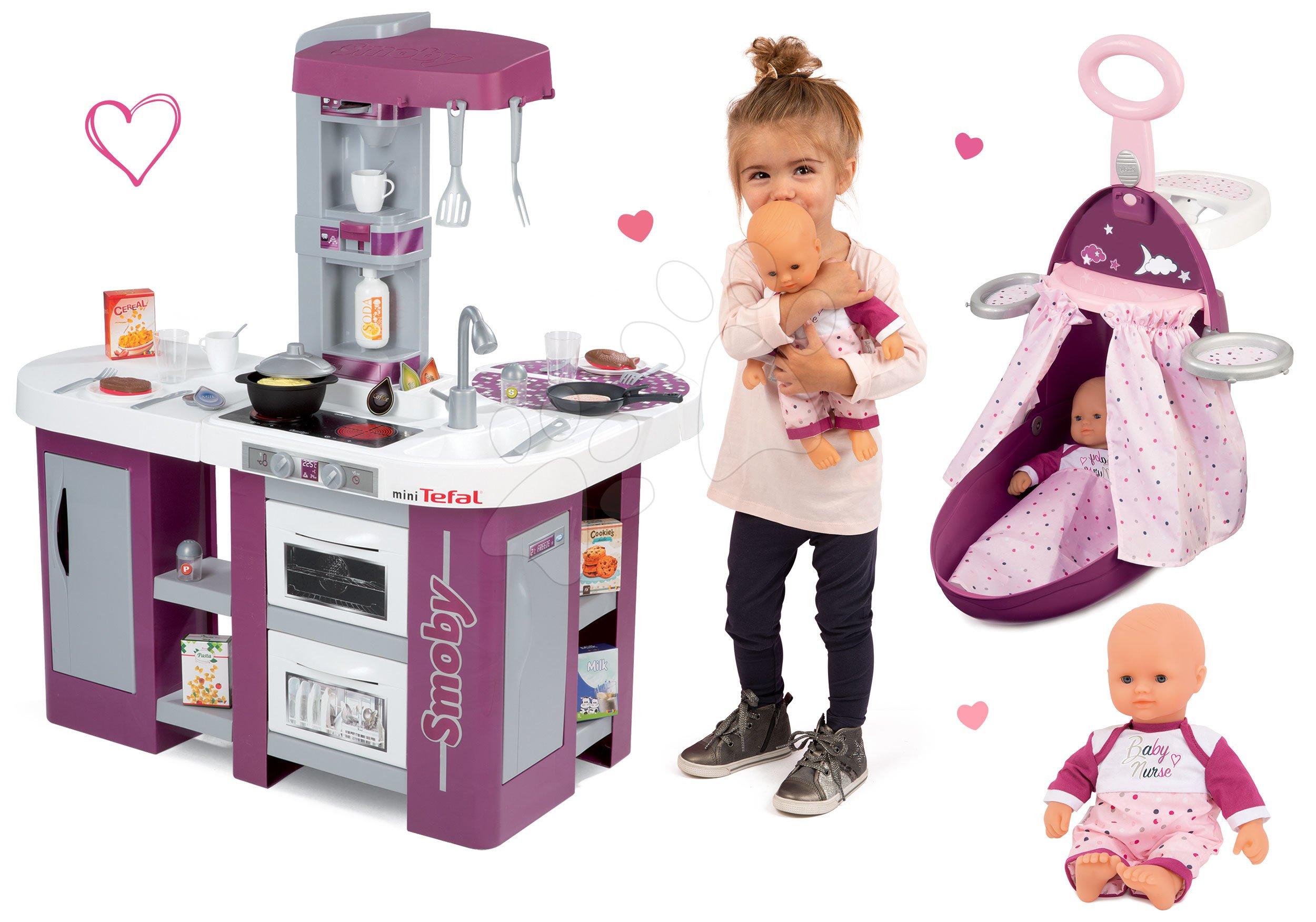 Set kuchyňka Tefal Studio XL se zvukem Smoby přebalovací vozík, panenka Baby Nurse Zlatá edice