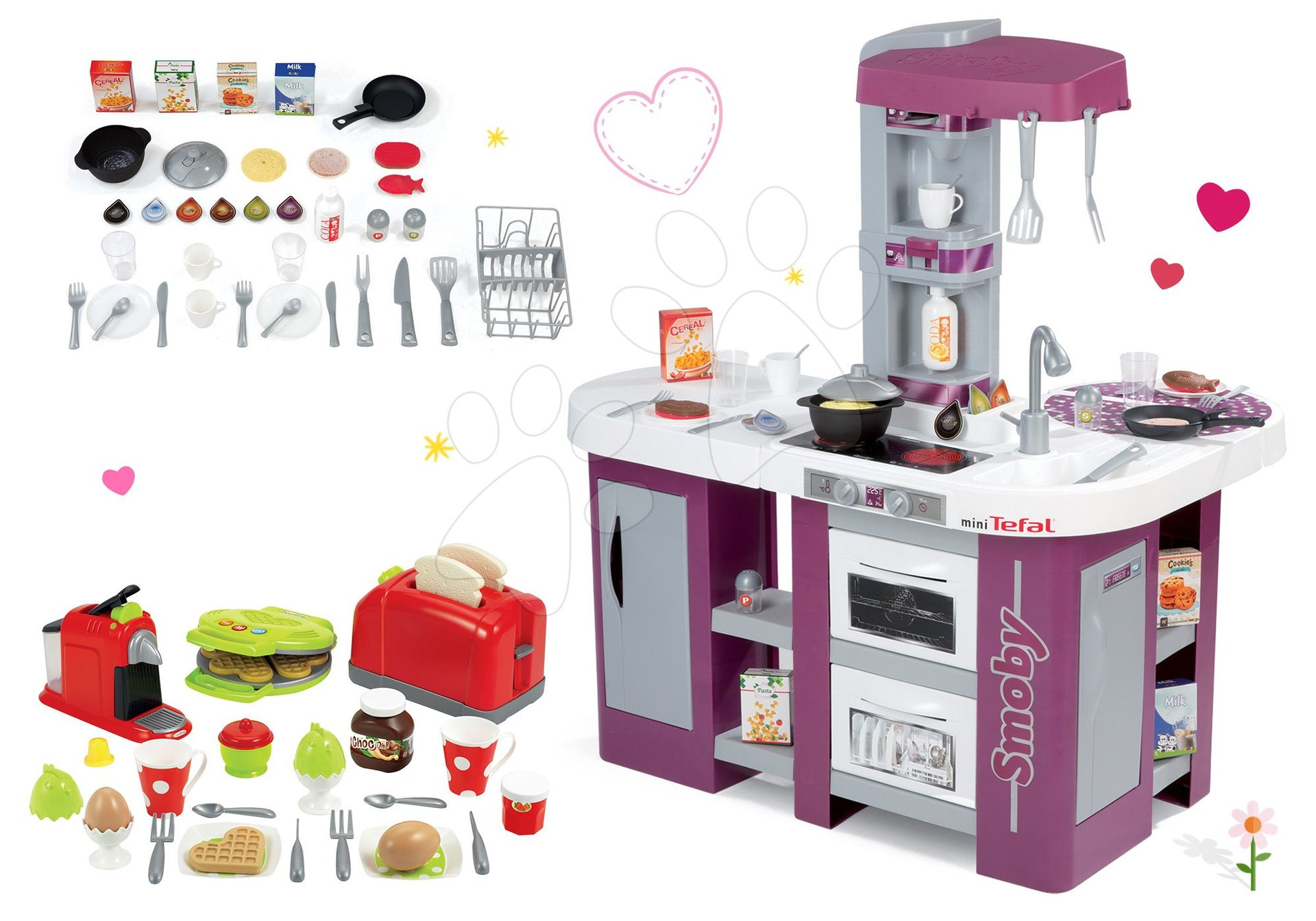Smoby set kuchynka Tefal Studio XL s umývačkou riadu a hriankovač s vaflovačom 311005-28 fialová