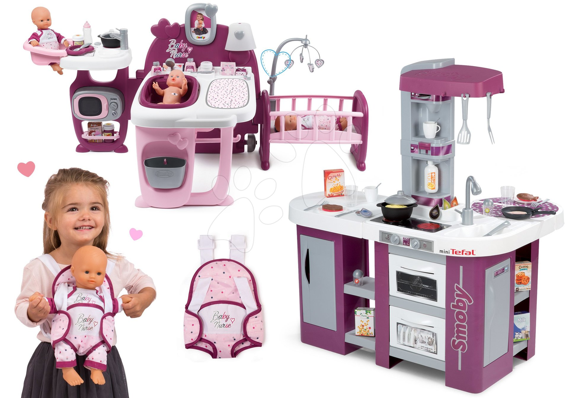 Set kuchynka fialová Tefal Studio XL Smoby elektronická s umývačkou riadu a domček pre bábiku s nosítkom Violette Baby Nurse Large Doll's Play Center