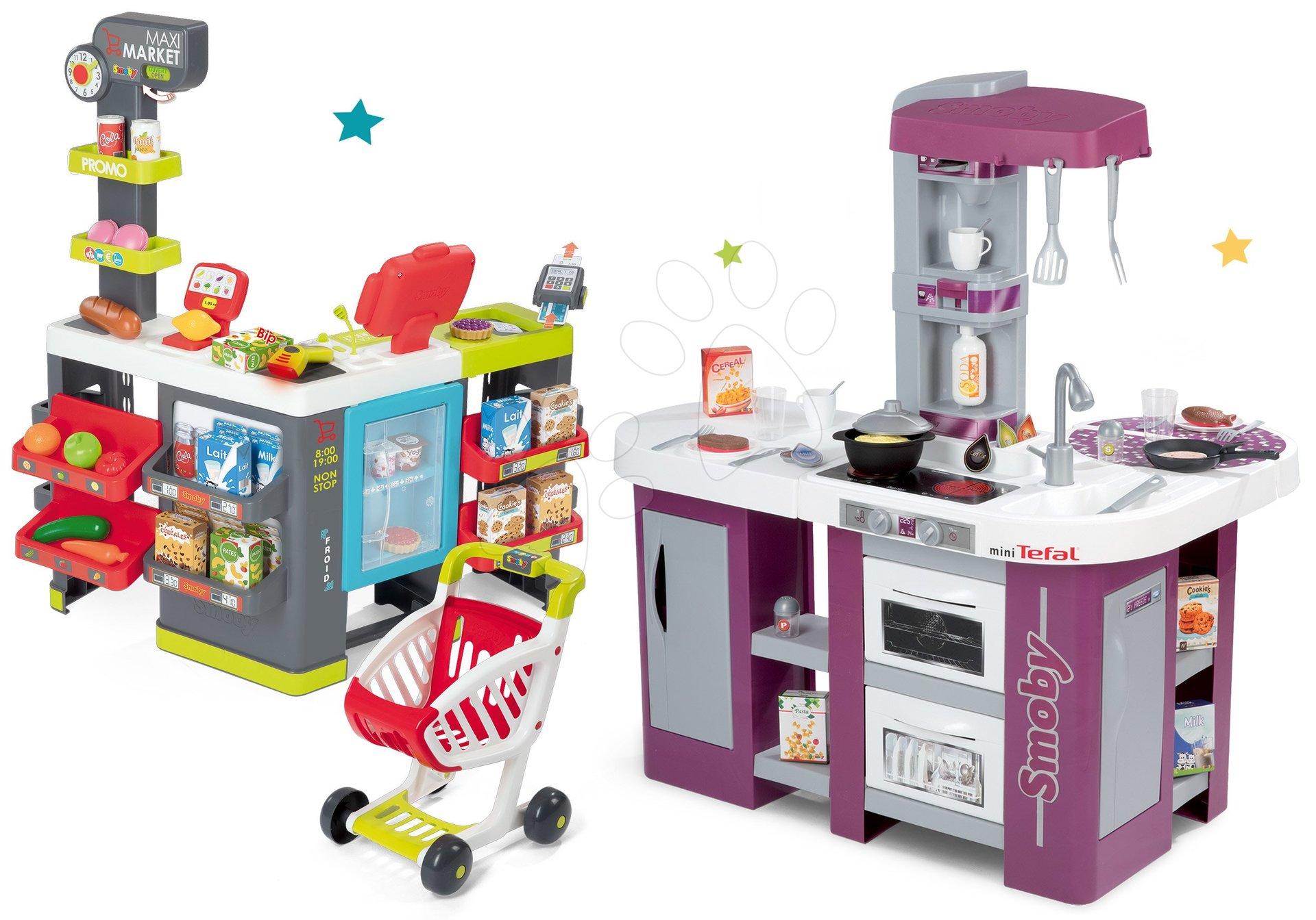 Set kuchynka fialová Tefal Studio XL Smoby elektronická s umývačkou riadu a obchod zmiešaný tovar Maxi Market