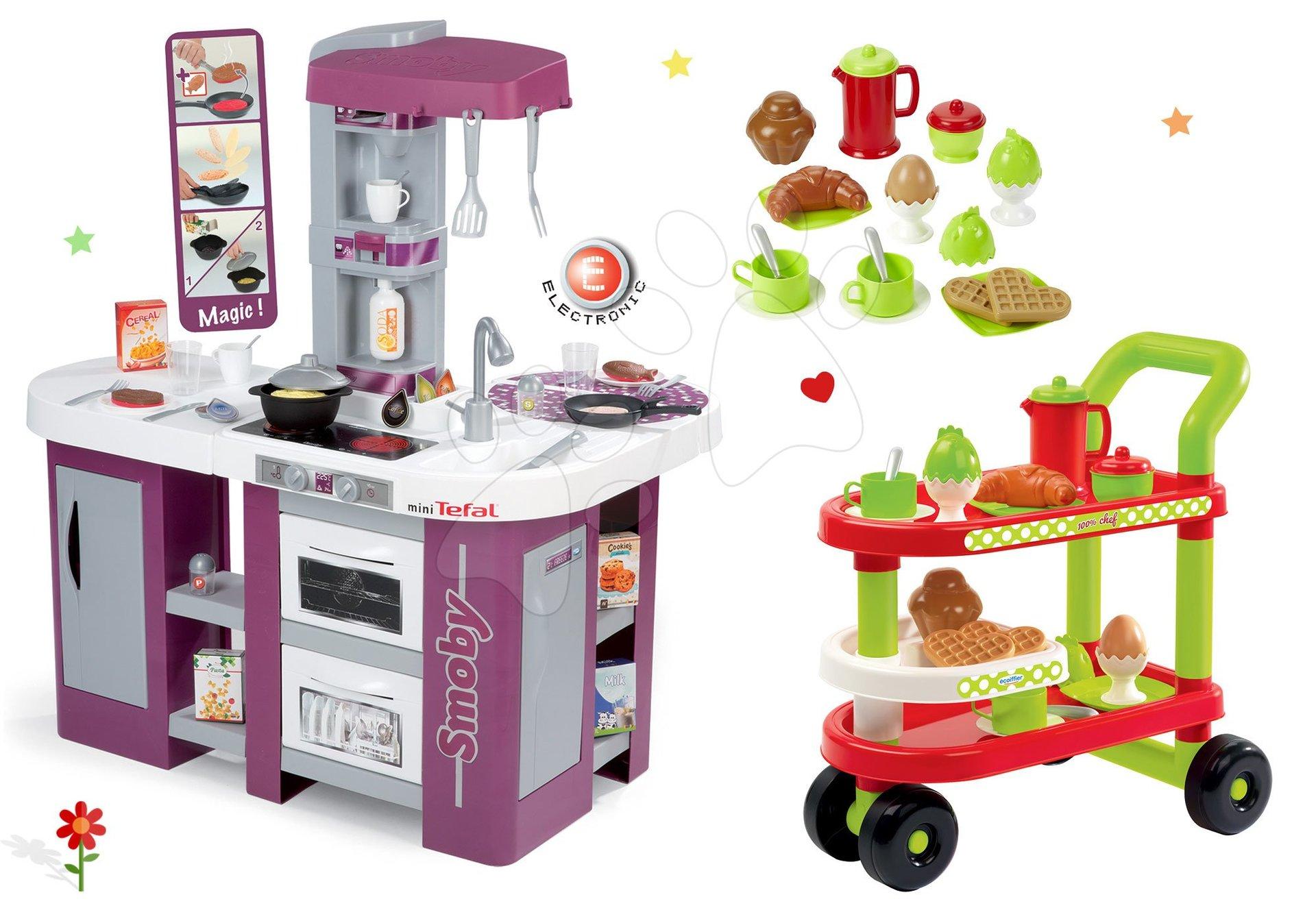 Kuchynky pre deti sety - Set kuchynka Tefal Studio XL Smoby s umývačkou riadu a servírovací vozík s raňajkami 100% Chef