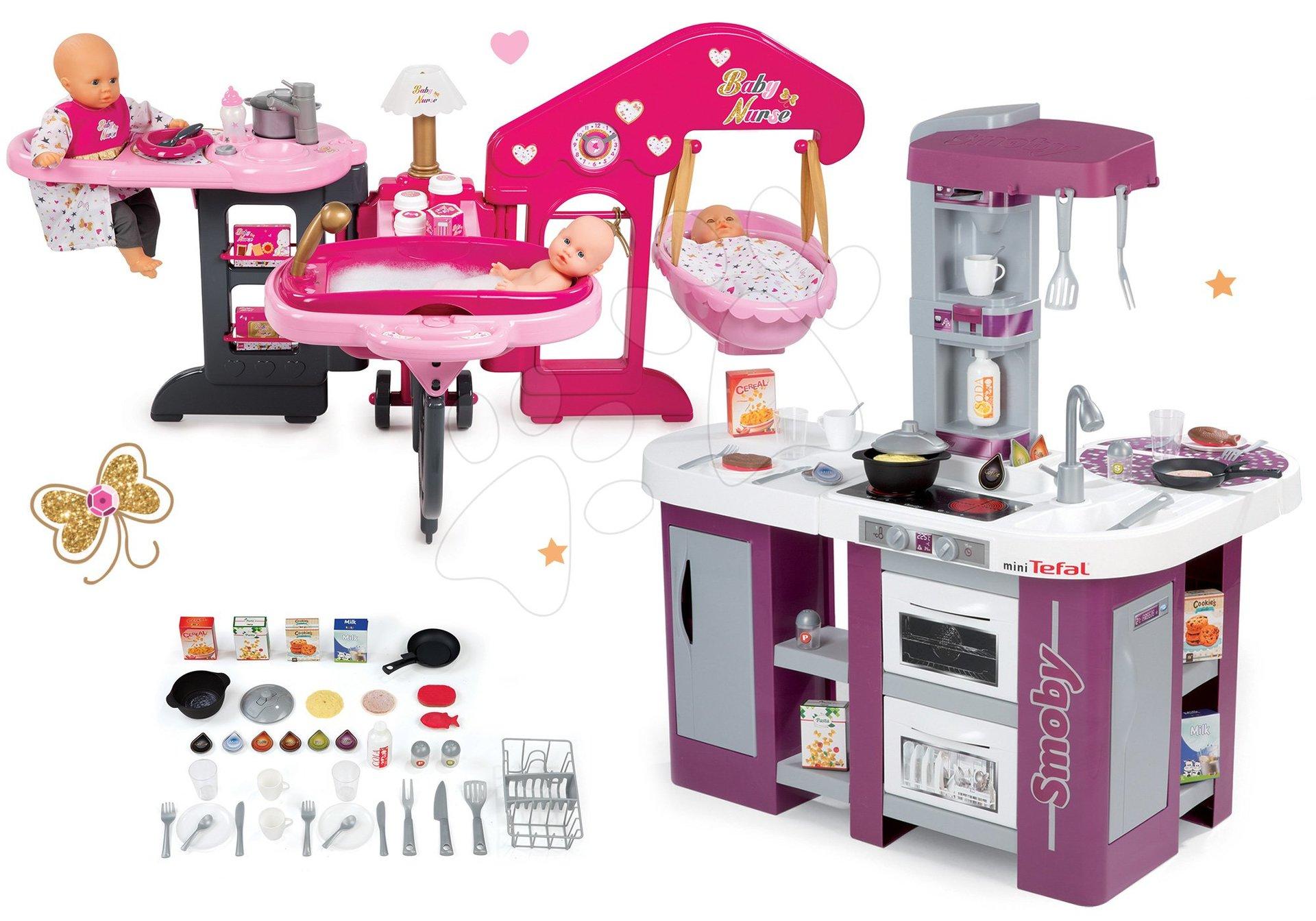 Kuchynky pre deti sety - Set kuchynka Tefal Studio XL Smoby s umývačkou riadu a chladničkou a opatrovateľské centrum pre bábiku
