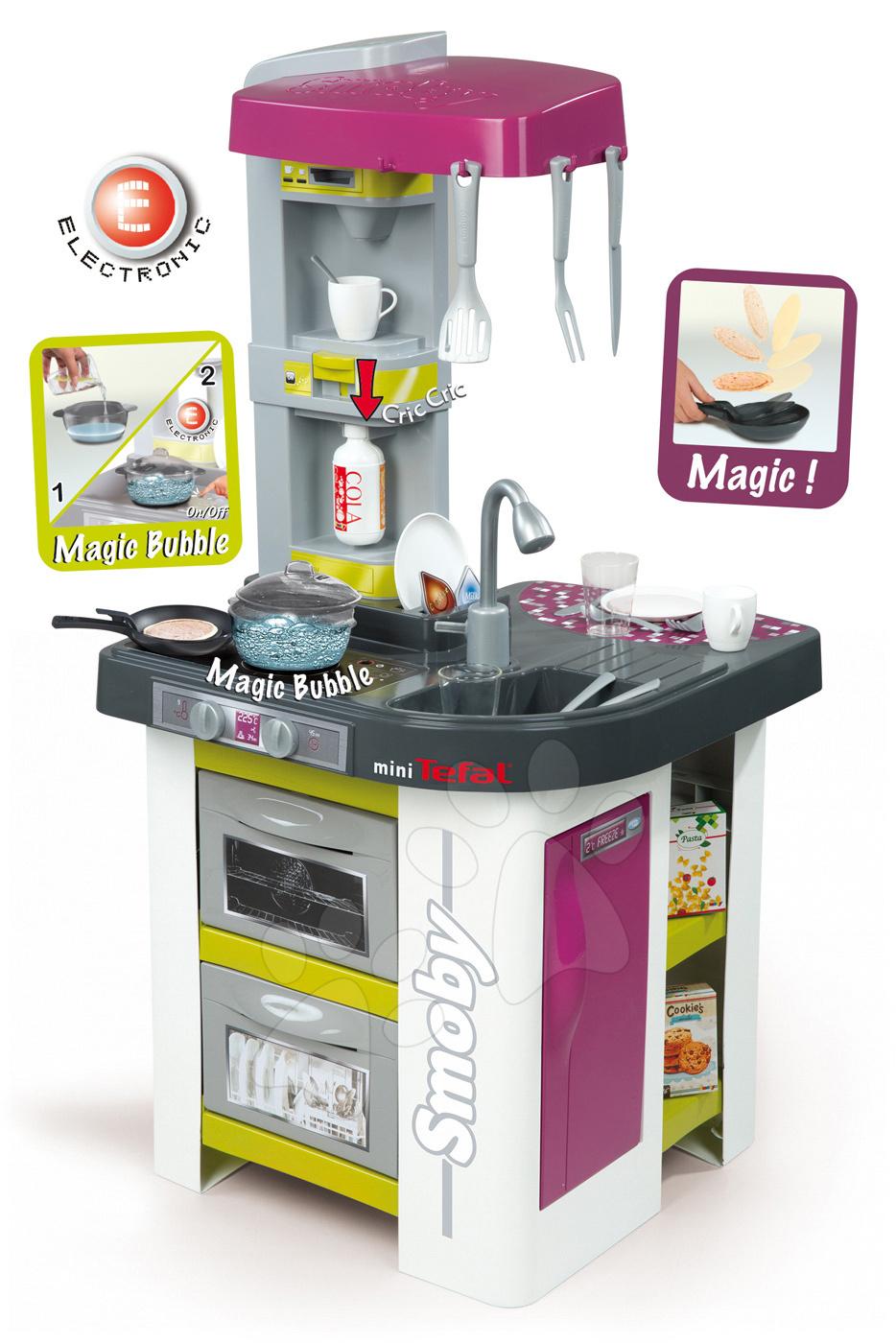 Kuchynka Tefal Studio Bubble Smoby elektronická s magickým bublaním a sódovačom s 26 doplnkami fialovo-zelená