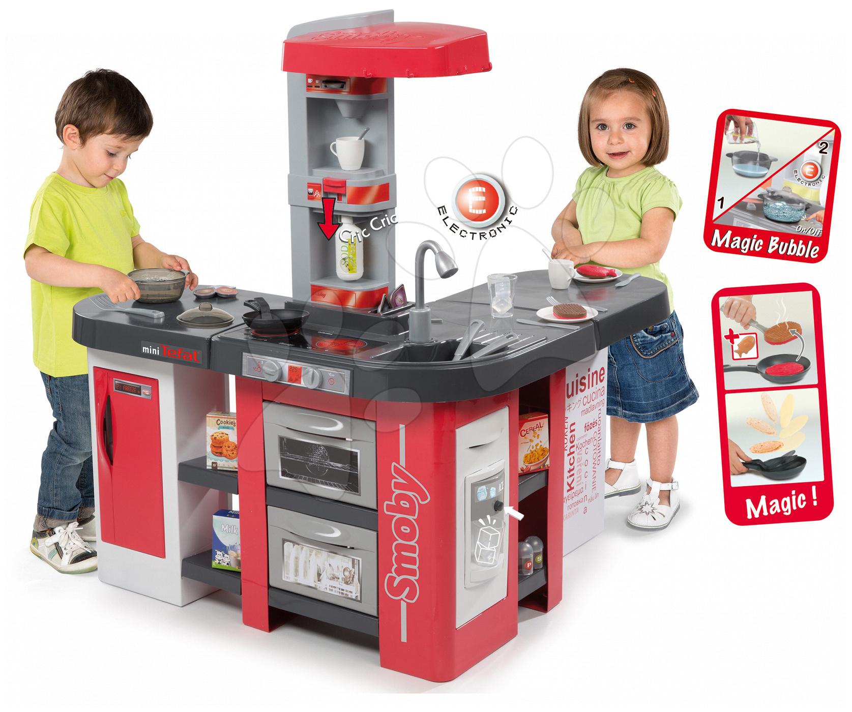 Bucătărie de jucărie Tefal Studio XXL Smoby electronică cu barbotare magică și gheață și 38 de accesorii roșu-argintiu