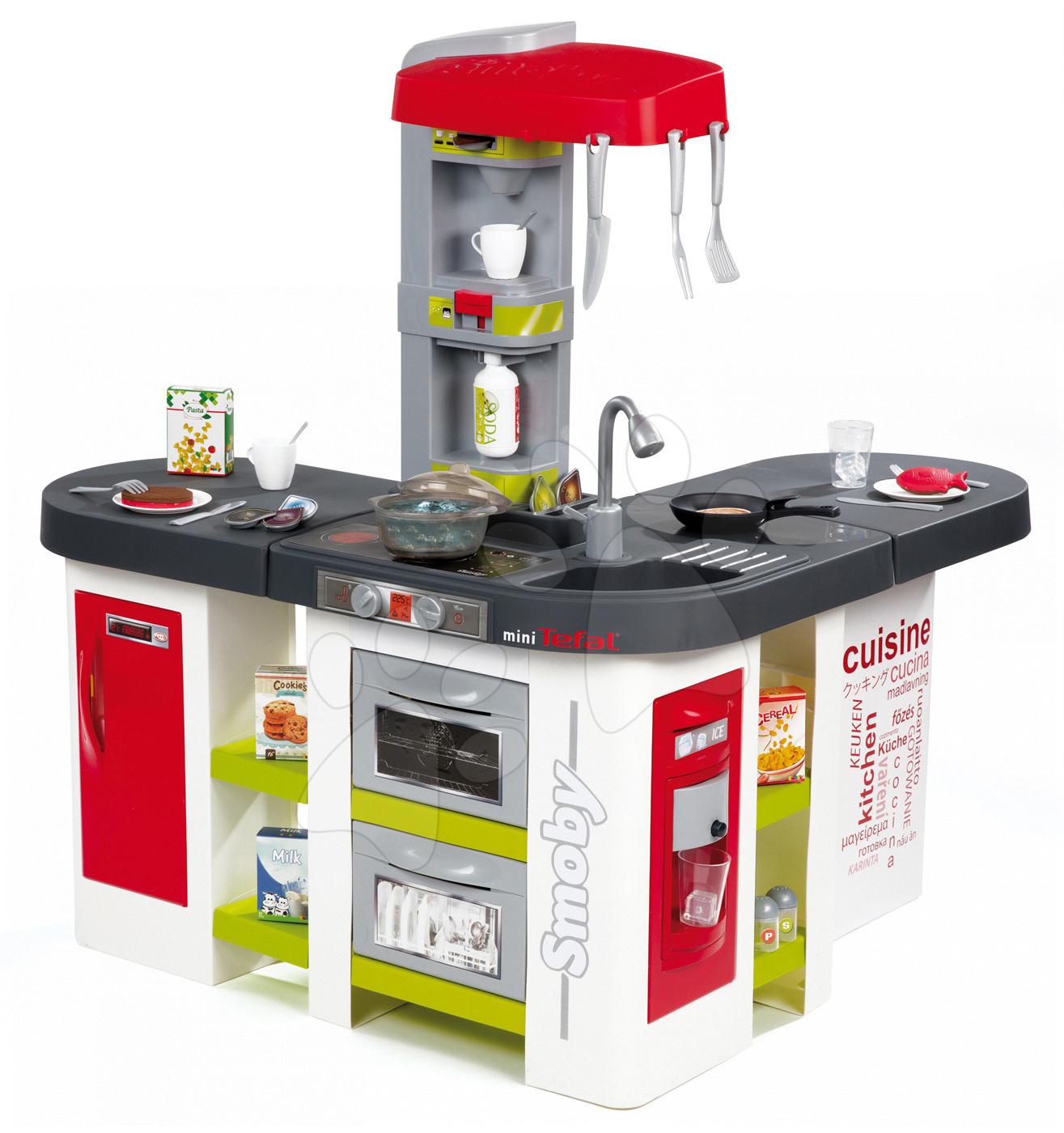 Kuchyňka Tefal Studio XXL elektronická Smoby s magickým bubláním a ledem s 38 doplňky červeno-zelená