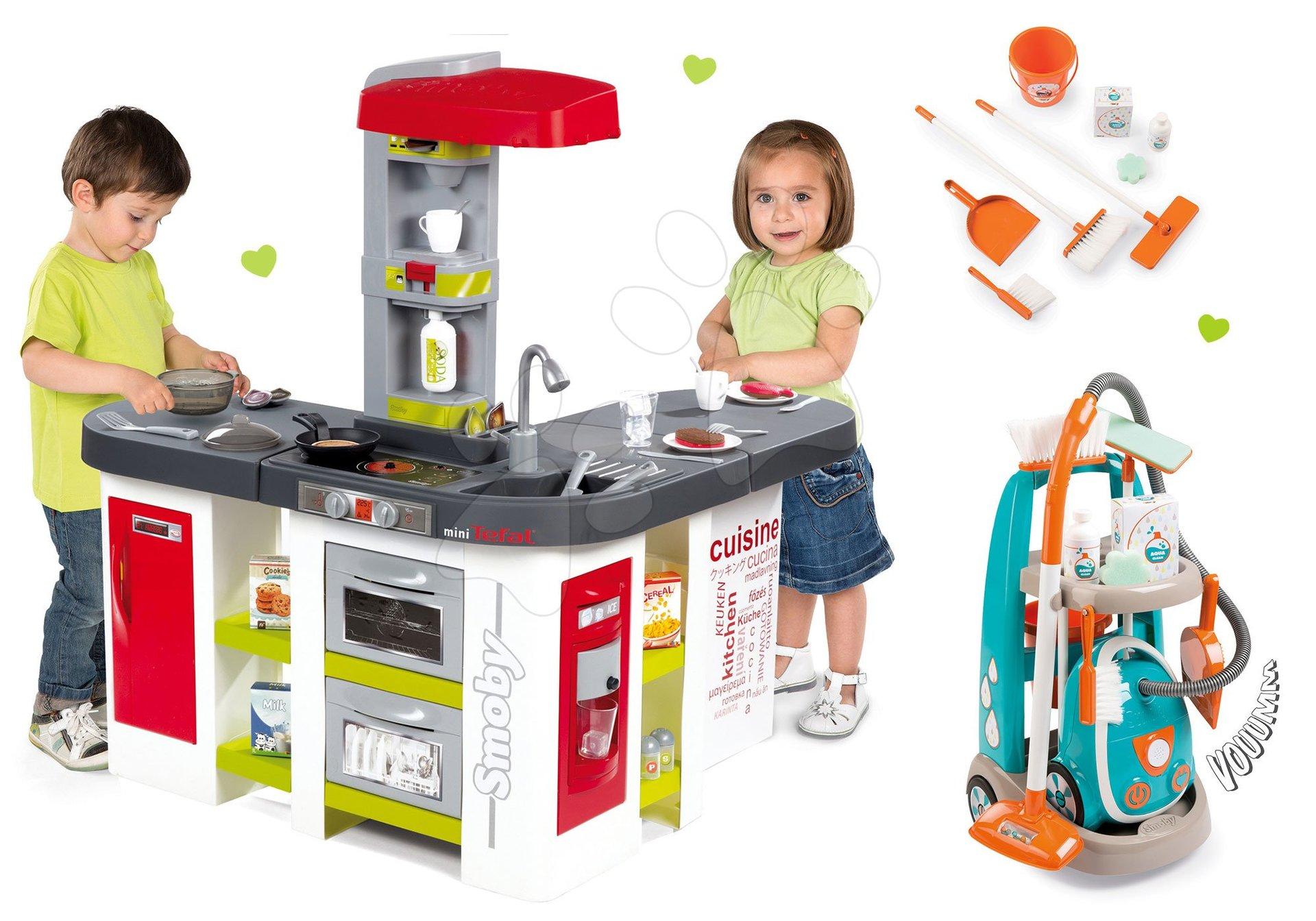 Smoby elektronická kuchynka pre deti Tefal Studio XXL a vozík na upratovanie s vysávačom 311018-13