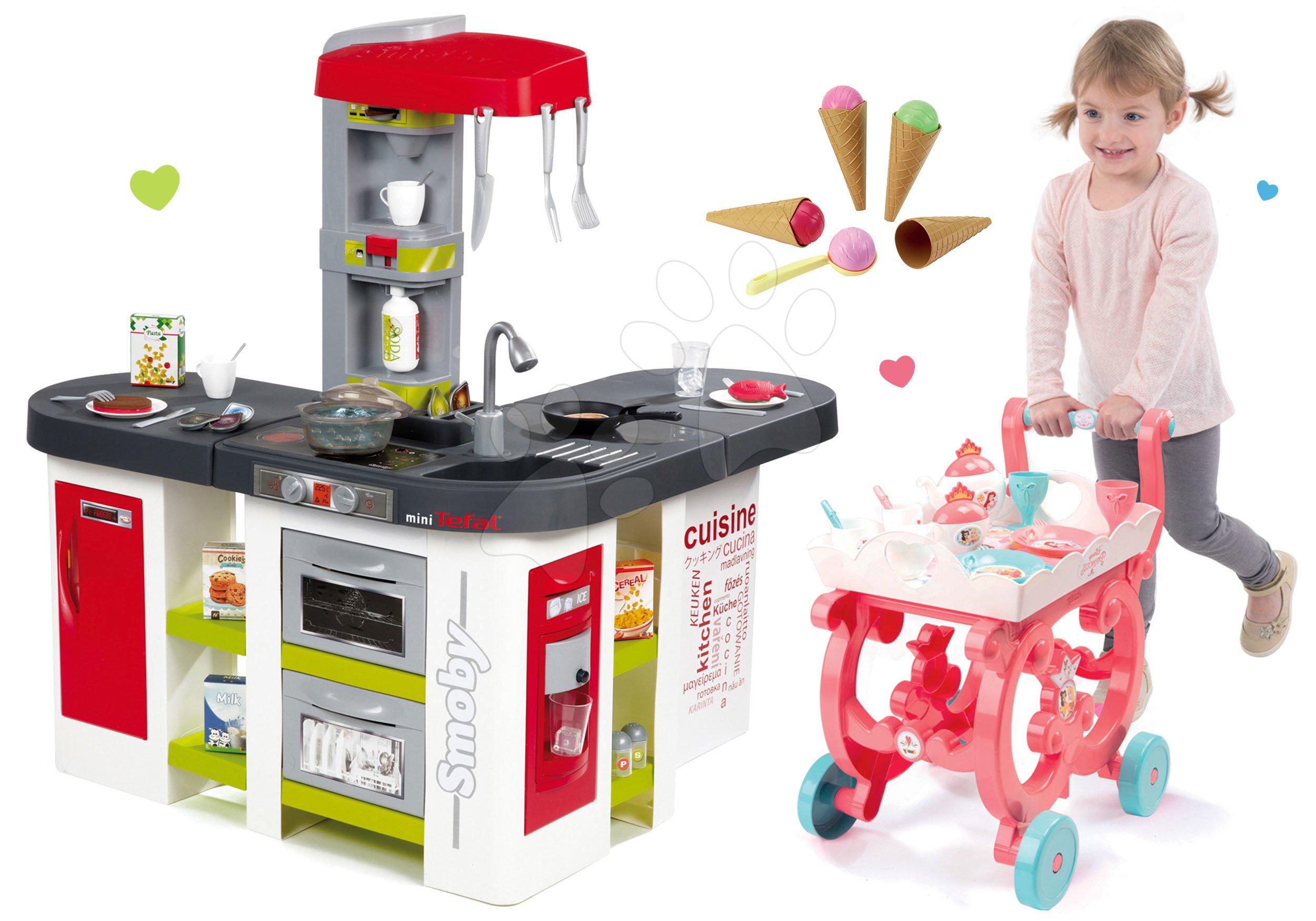 Set kuchyňka Tefal Studio XXL elektronická Smoby s magickým bubláním a servírovací vozík se zmrzlinou