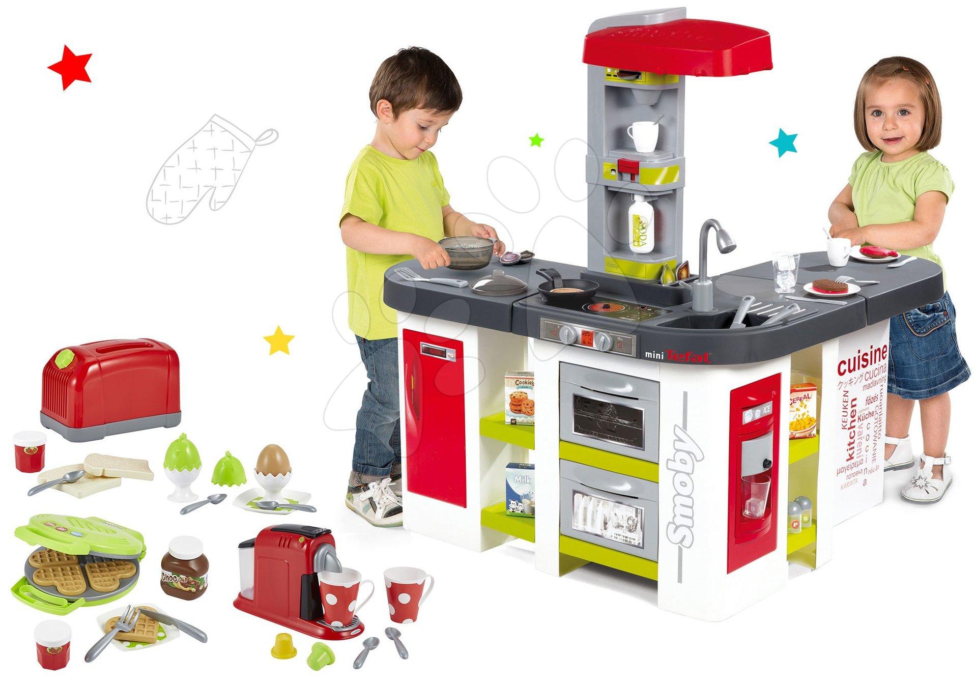 Set kuchyňka Tefal Studio XXL Smoby elektronická s magickým bubláním a topinkovač s kávovarem a vaflovač