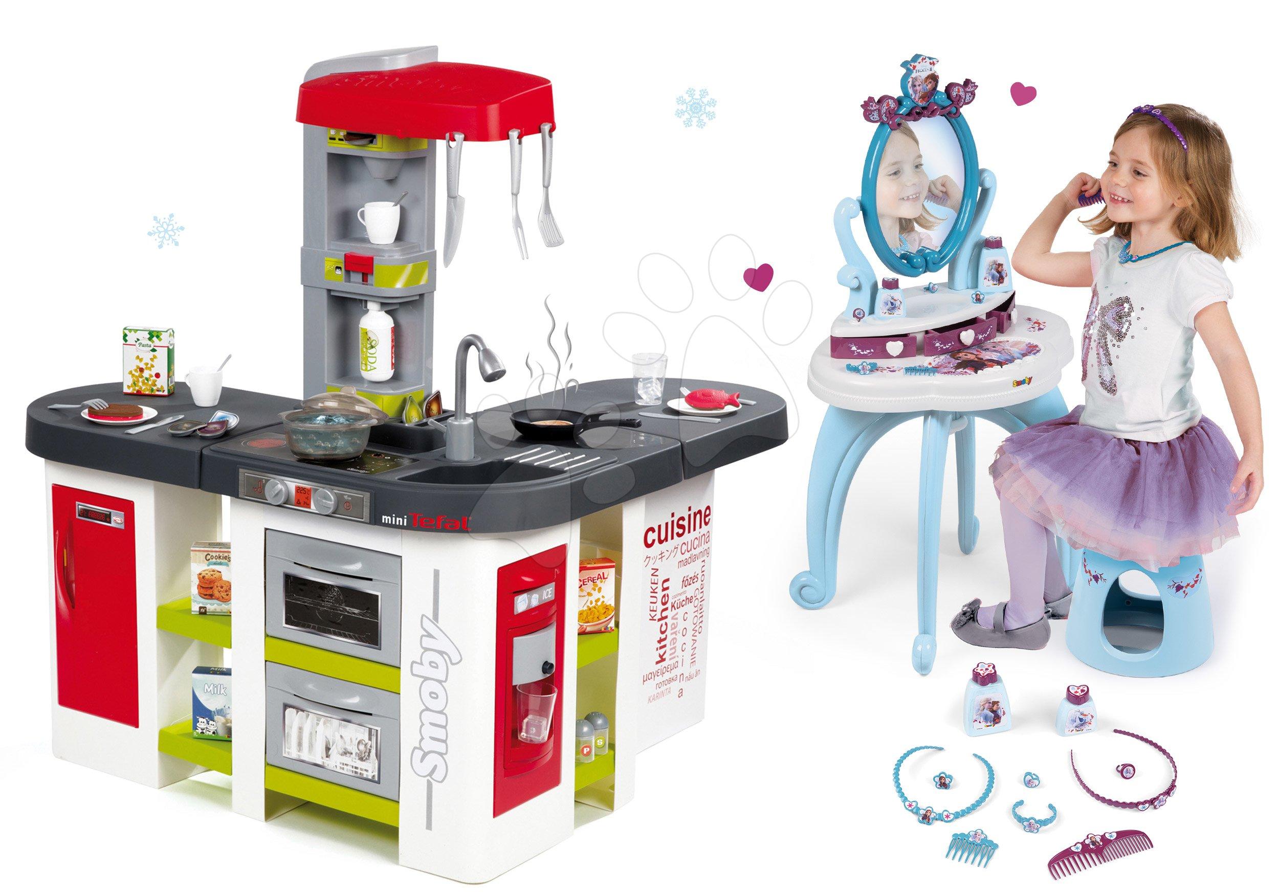 Set kuchyňka Tefal Studio XXL Smoby s magickým bubláním a kosmetický stolek Frozen 2v1