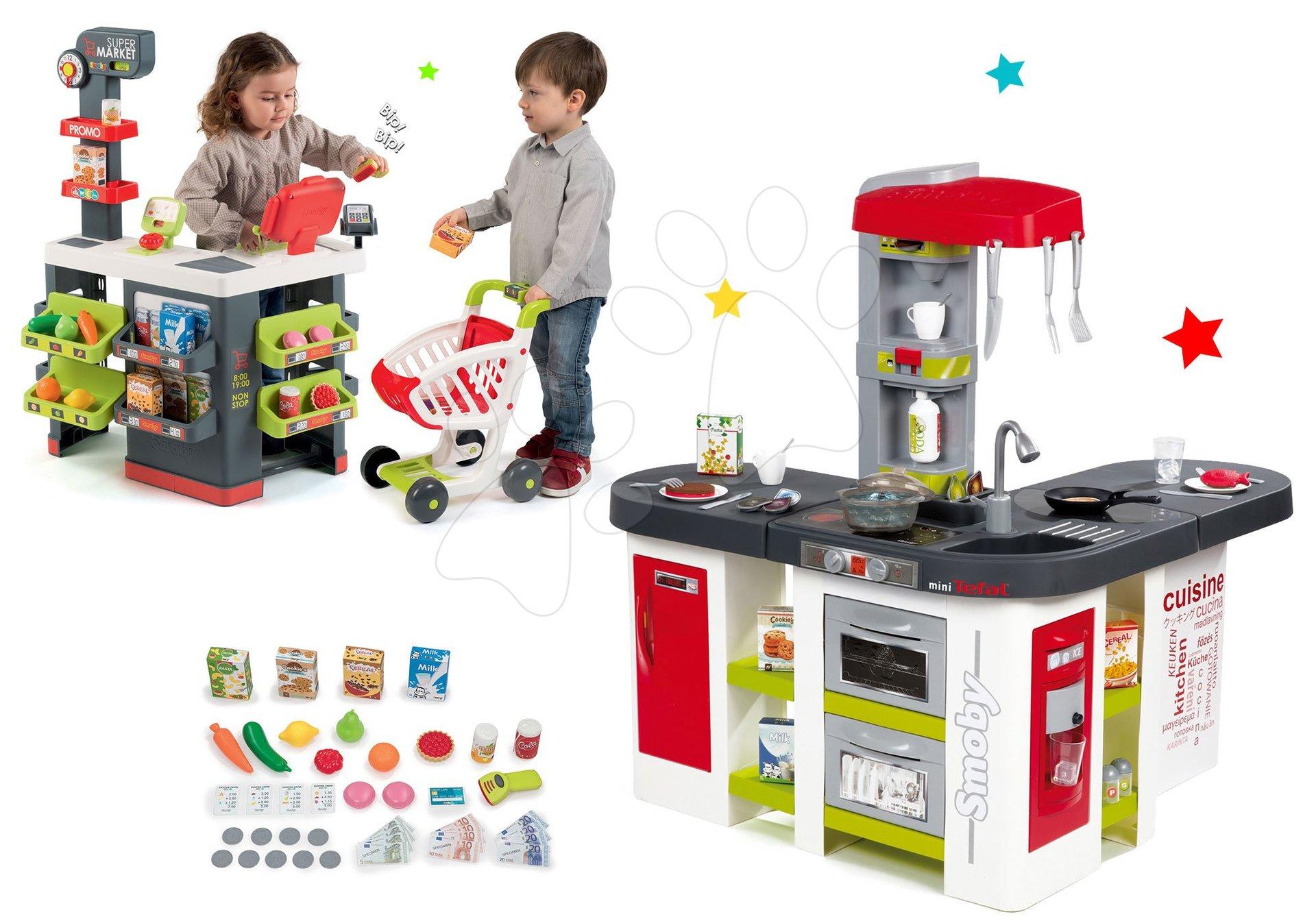 Set kuchyňka Tefal Studio XXL Smoby elektronická s magickým bubláním a obchod s vozíkem Supermarket