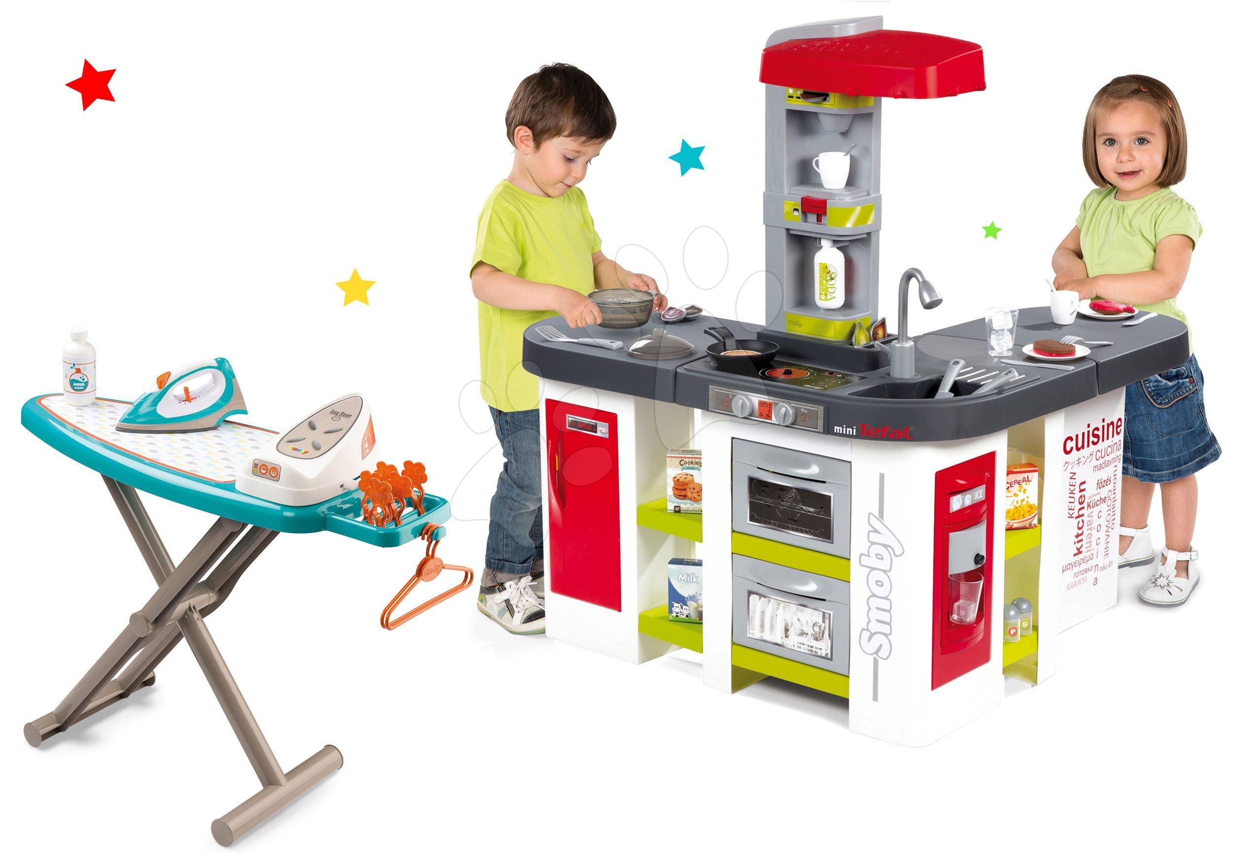 Set kuchyňka Tefal Studio XXL elektronická Smoby s magickým bubláním a žehlicí prkno s elektronickou žehličkou