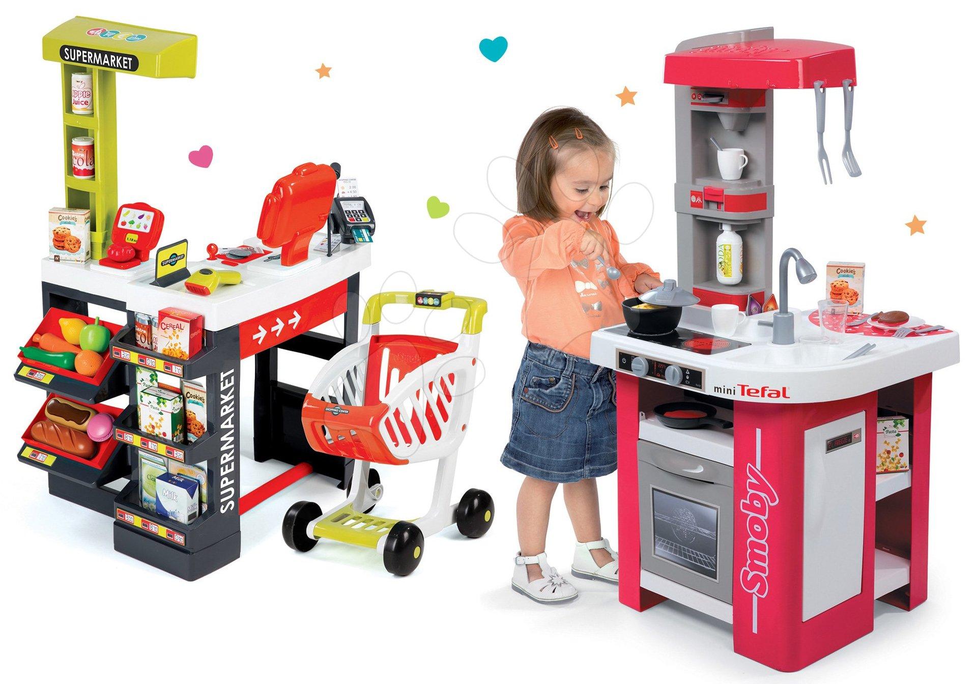 Smoby set detská kuchynka Tefal Studio a supermarket s váhou a pokladňou 311022-1