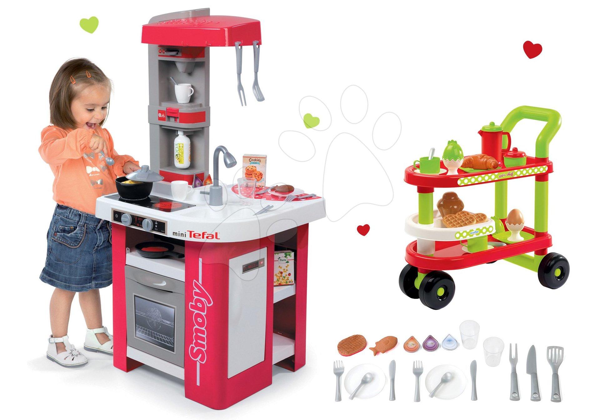 Smoby set detská kuchynka Tefal Studio elektronická a servírovací vozík s raňajkami 100% Chef 311022-11