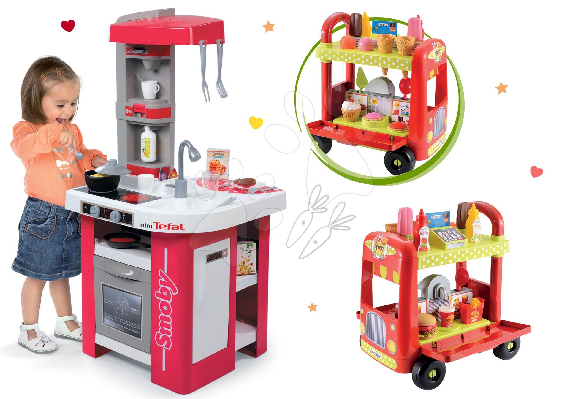 Set kuchyňka Tefal Studio Smoby se zvuky, zmrzlinářský vozík s hamburgery