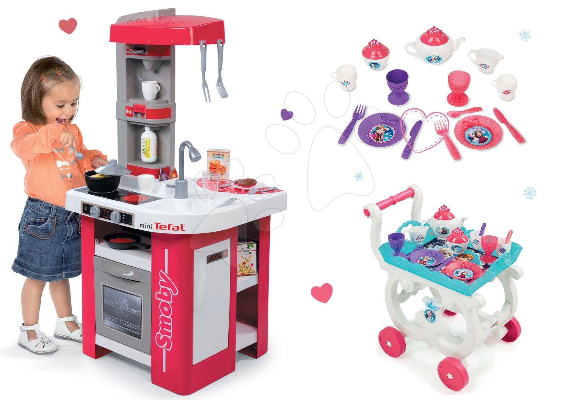 Set kuchyňka Tefal Studio Smoby se zvuky, servírovací vozík Frozen s čajovou soupravou