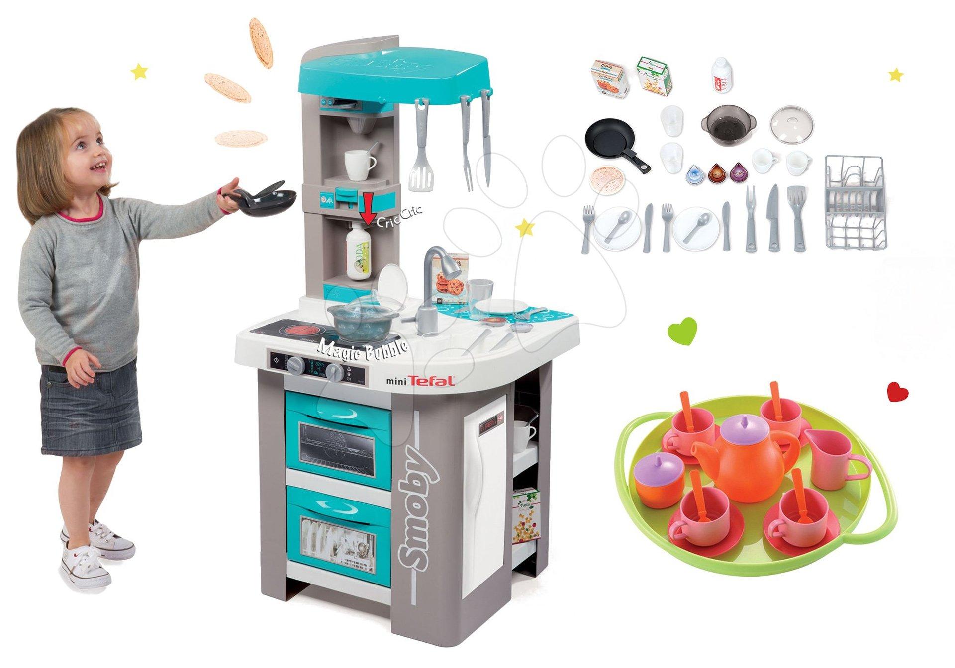Smoby set elektronická kuchynka Tefal Studio Bubble tyrkysová a čajová sada s doplnkami 311023-1