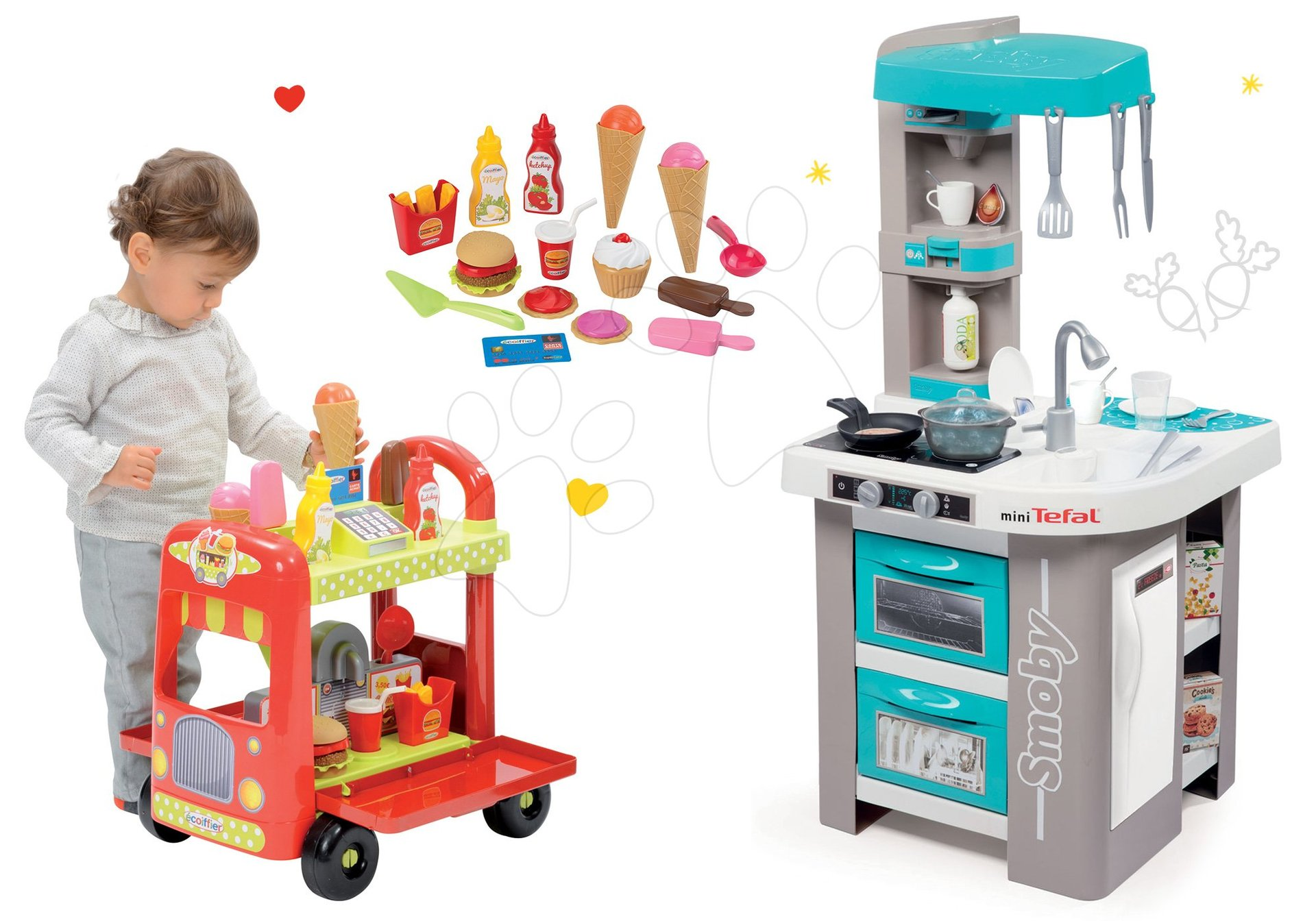 Set kuchynka Tefal Studio Bubble Smoby tyrkysová elektronická s magickým bublaním a zmrzlinársky vozík s hamburgermi