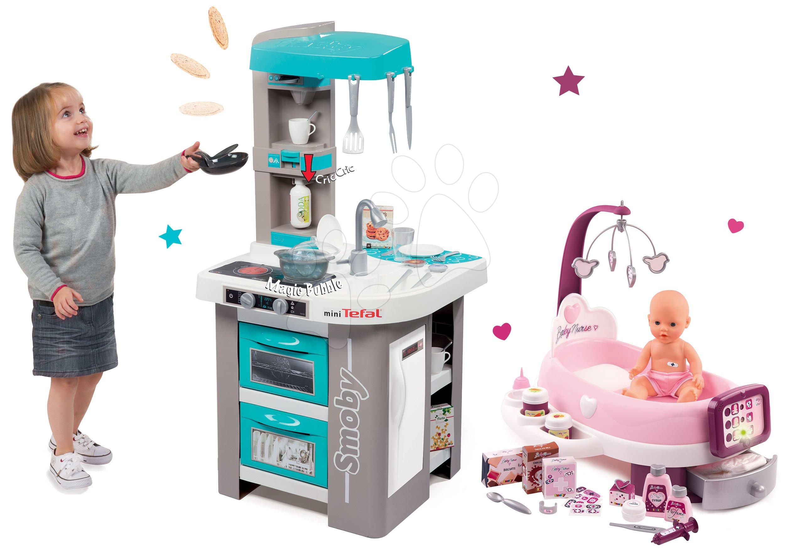Smoby set elektronická kuchyňka Tefal Studio Bubble tyrkysová a pečovatelské centrum s panenkou 3110