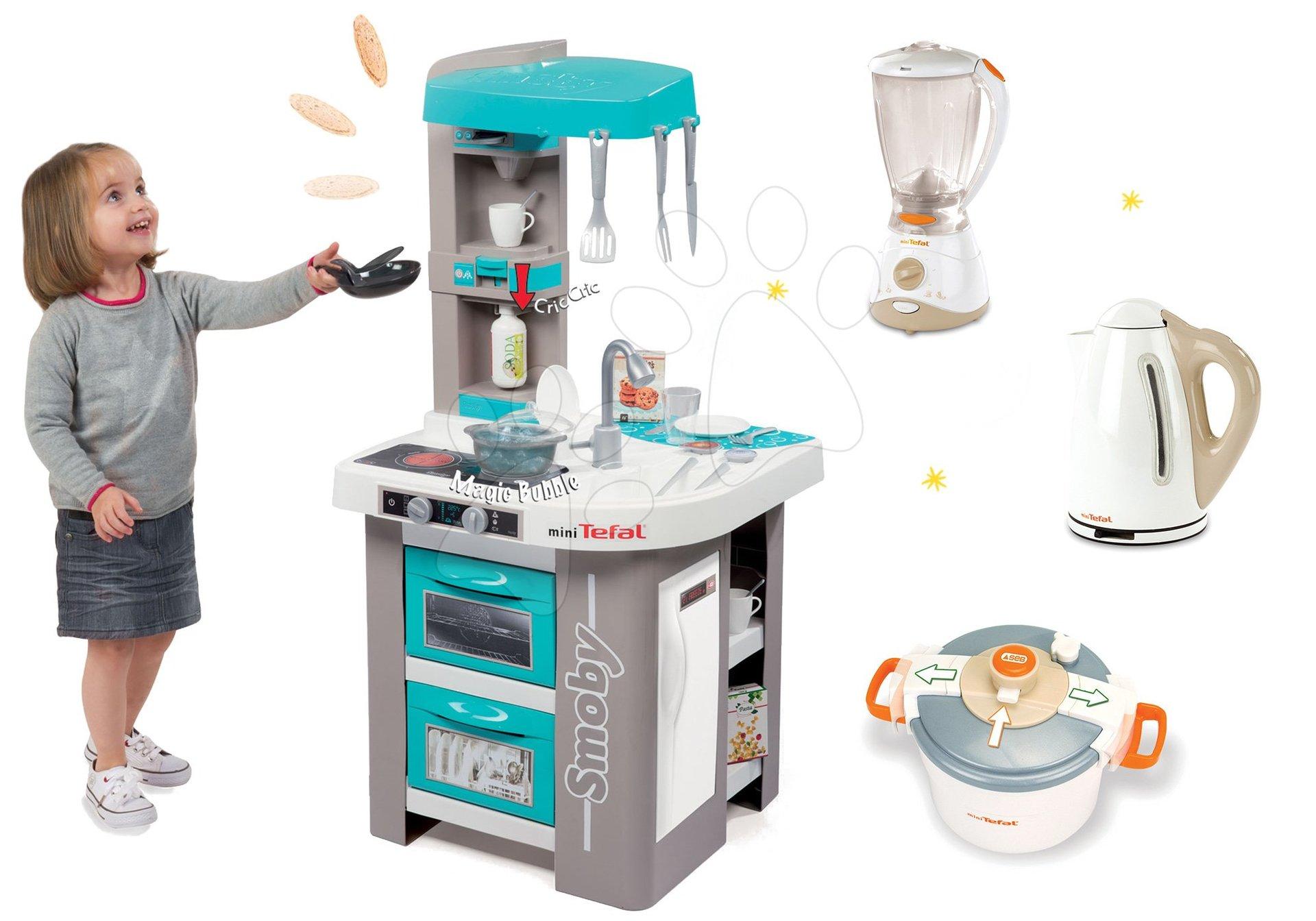Smoby set elektronická kuchynka Tefal Studio Bubble tyrkysová a kuchynské spotrebiče Tefal 311023-12