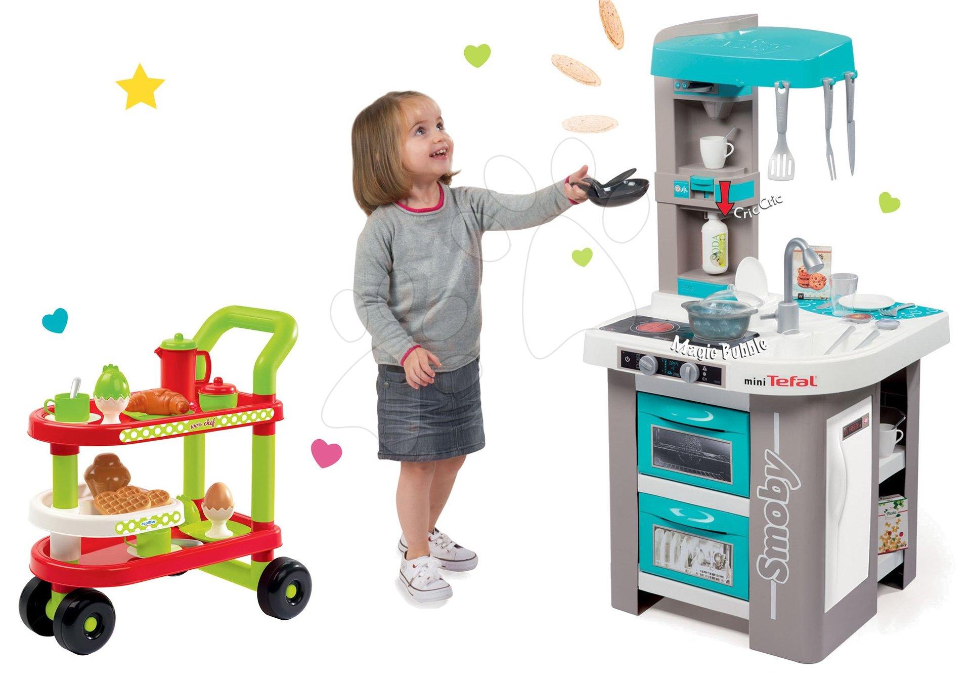 Smoby set kuchynka Tefal Studio Bubble tyrkysová a servírovací vozík s raňajkami 100% Chef 311023-13