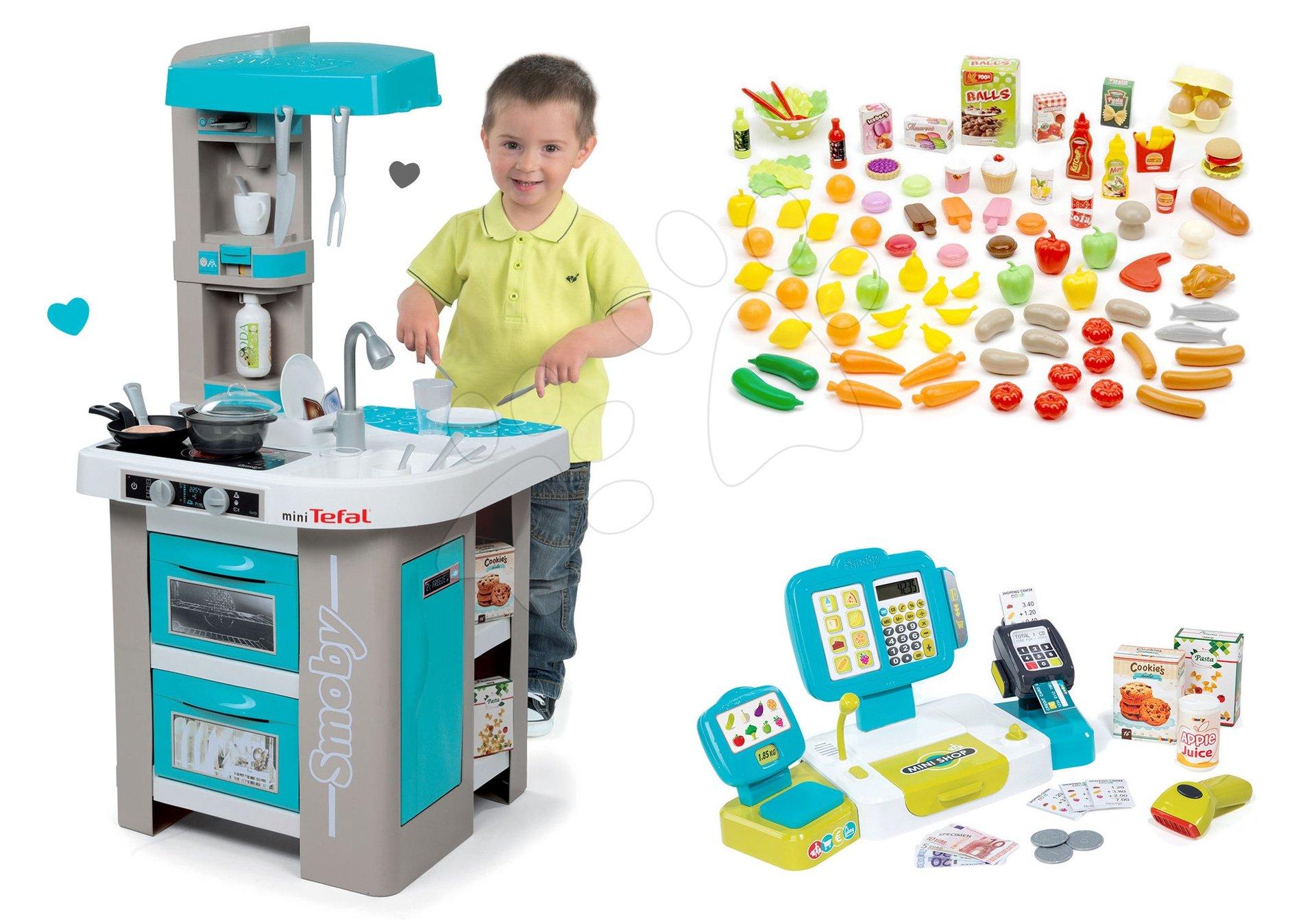 Smoby set elektronická kuchynka Tefal Studio Bubble tyrkysová s pokladňou a 100 ks potravín 311023-6