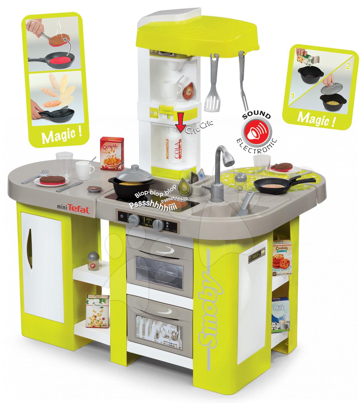 Kuhinja Tefal Studio XL Smoby elektronska s čarobnimi testeninami, sodo, kavnim avtomatom in 36 dodatki zeleno-bež