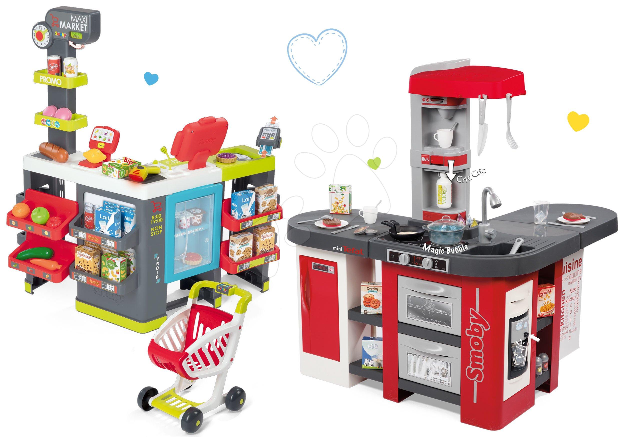 Set kuchyňka Tefal Studio XXL Smoby s magickým bubláním a elektronický obchod Supermarket