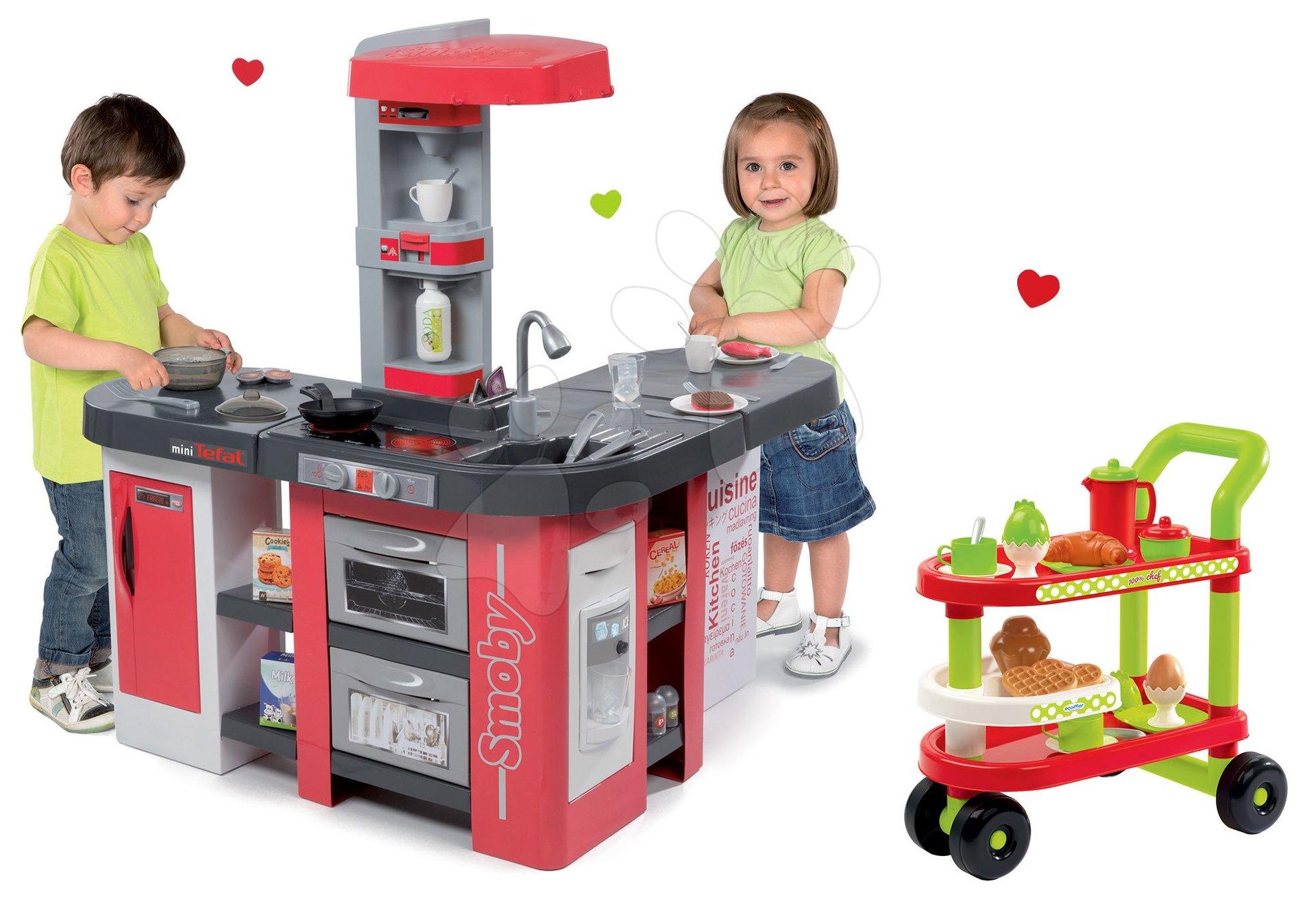 Set kuchyňka Tefal Studio XXL Smoby elektronická s magickým bubláním a servírovací vozík 100% Chef