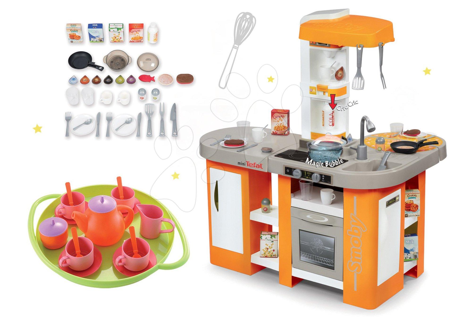 Set kuchyňka elektronická Tefal Studio XL Smoby s magickým bubláním a čajová sada s 18 doplňky