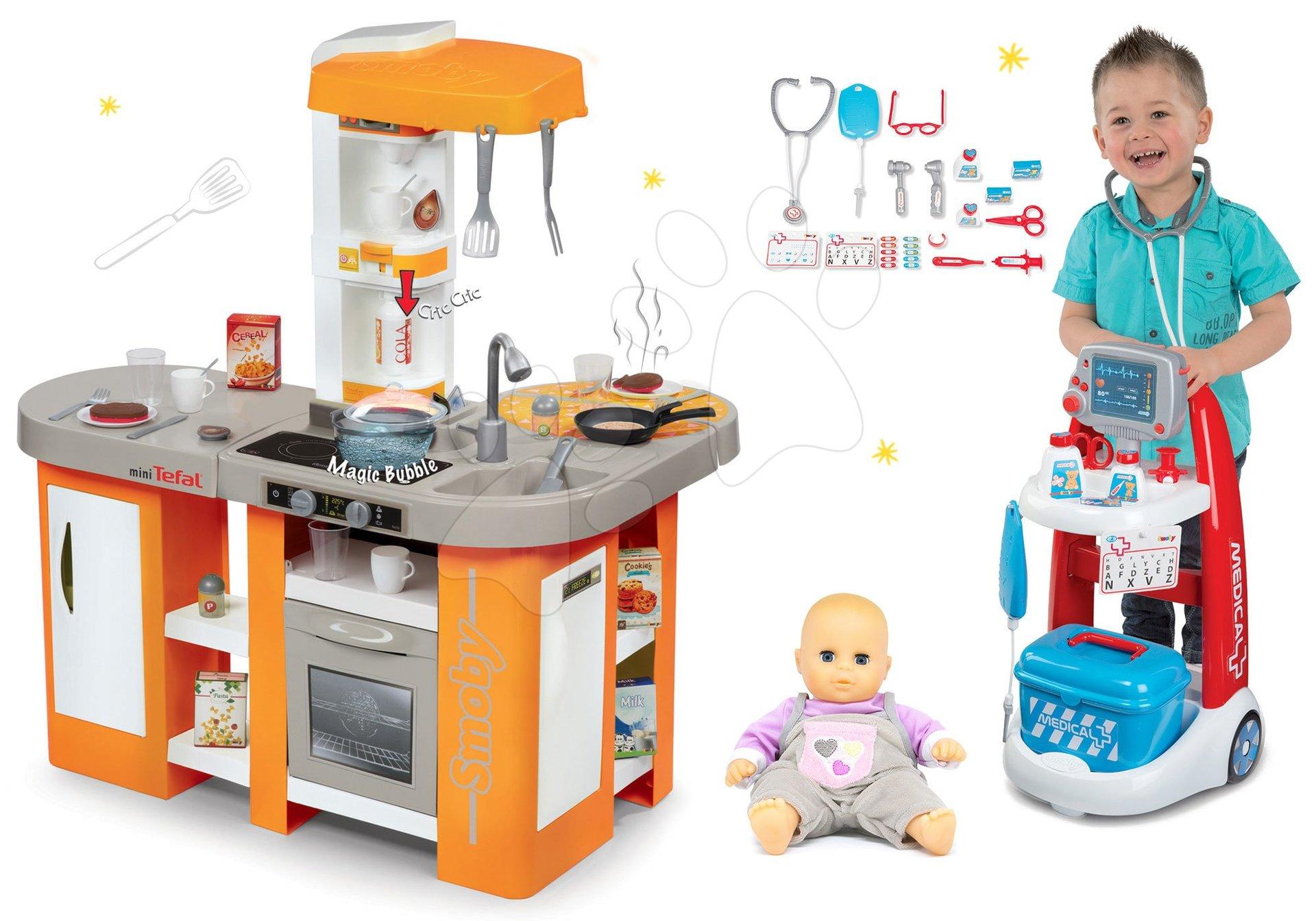 Set kuchynka elektronická Tefal Studio XL Smoby s magickým bublaním a lekársky vozík so zvukom a bábikou