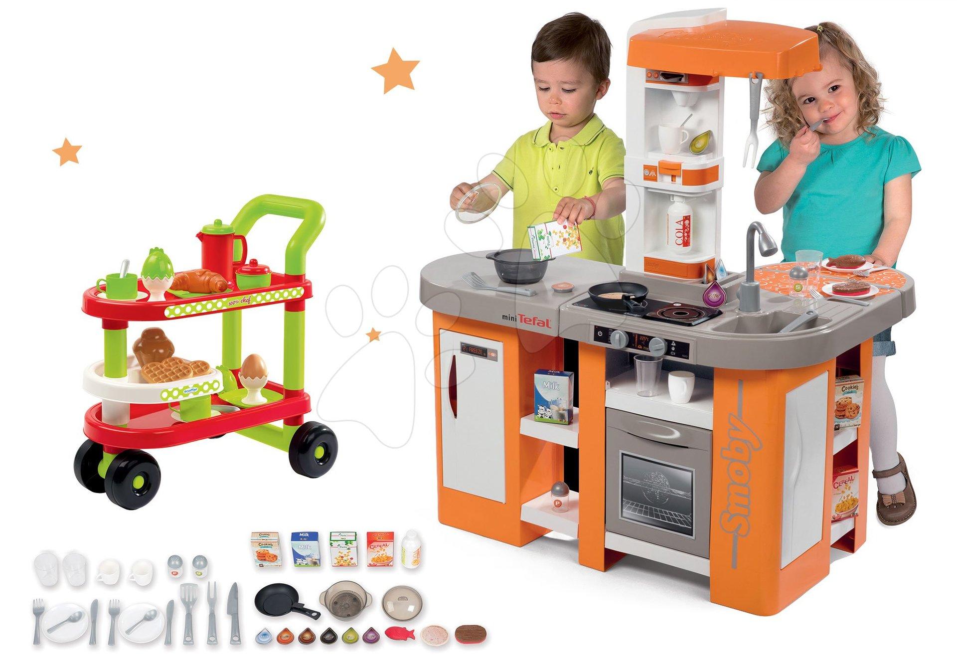 Set kuchyňka elektronická Tefal Studio XL Smoby s magickým bubláním a servírovací vozík se snídaní 100% Chef