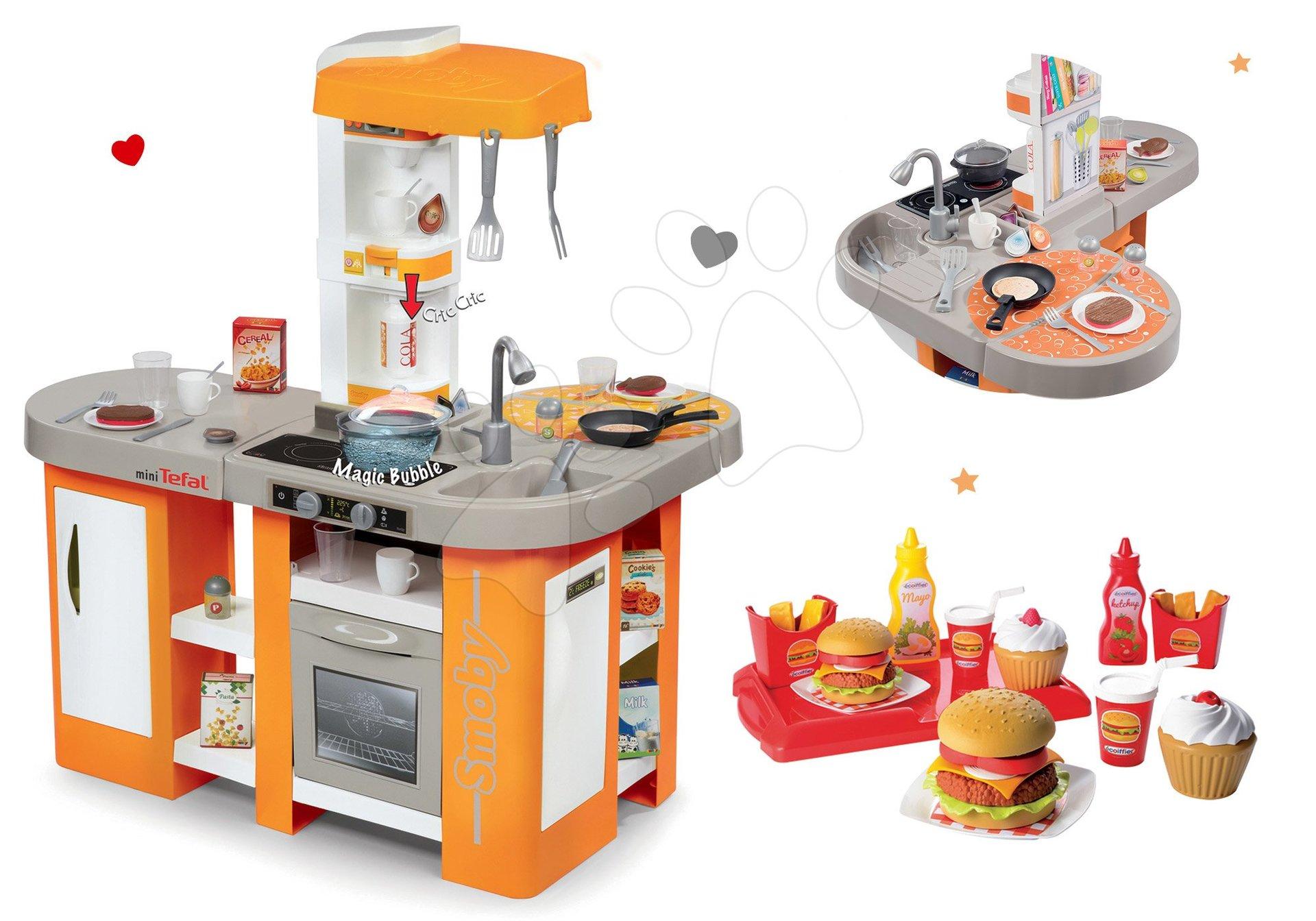 Set kuchyňka Tefal Studio XL Smoby se zvuky a ledničkou a set hamburgrů 100% Chef