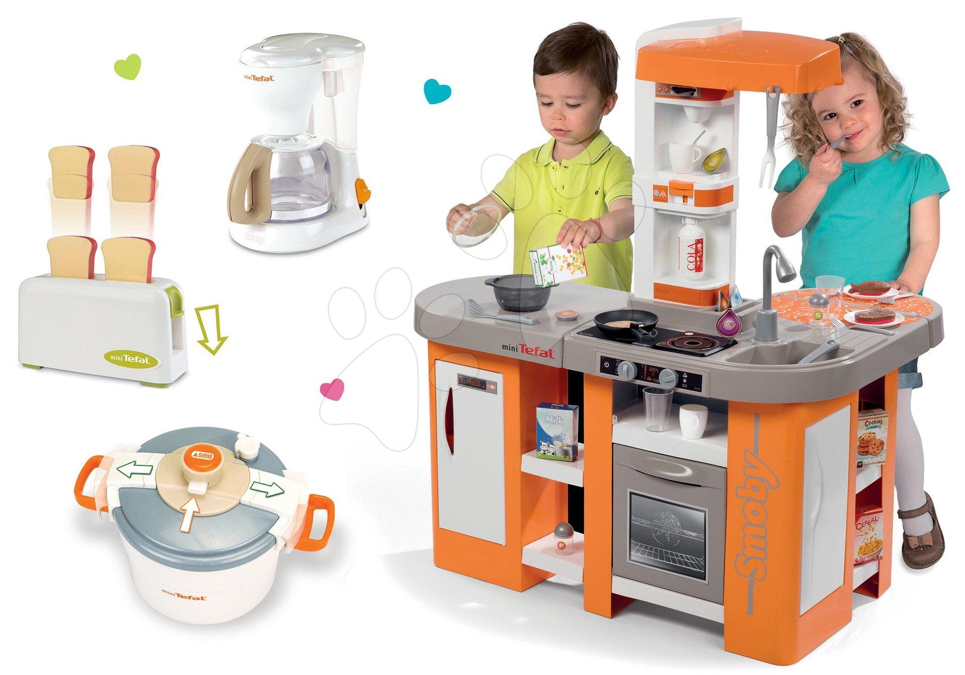 Kuchynky pre deti sety - Set kuchynka Tefal Studio XL Smoby so zvukmi a chladničkou a 3 kuchynské spotrebiče Tefal