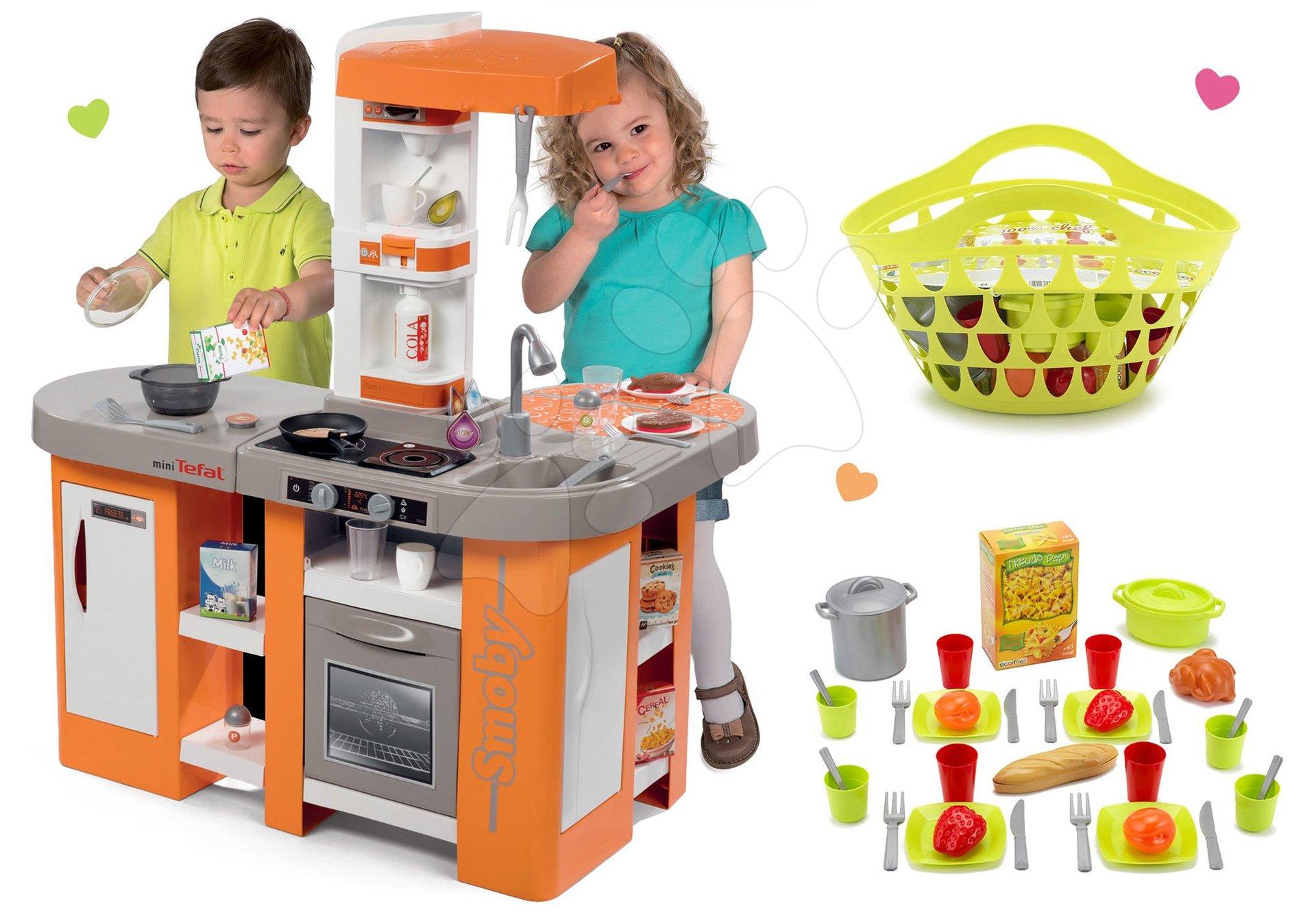 Kuchynky pre deti sety - Set kuchynka Tefal Studio XL Smoby so zvukmi a chladničkou a košík s riadom100% Chef