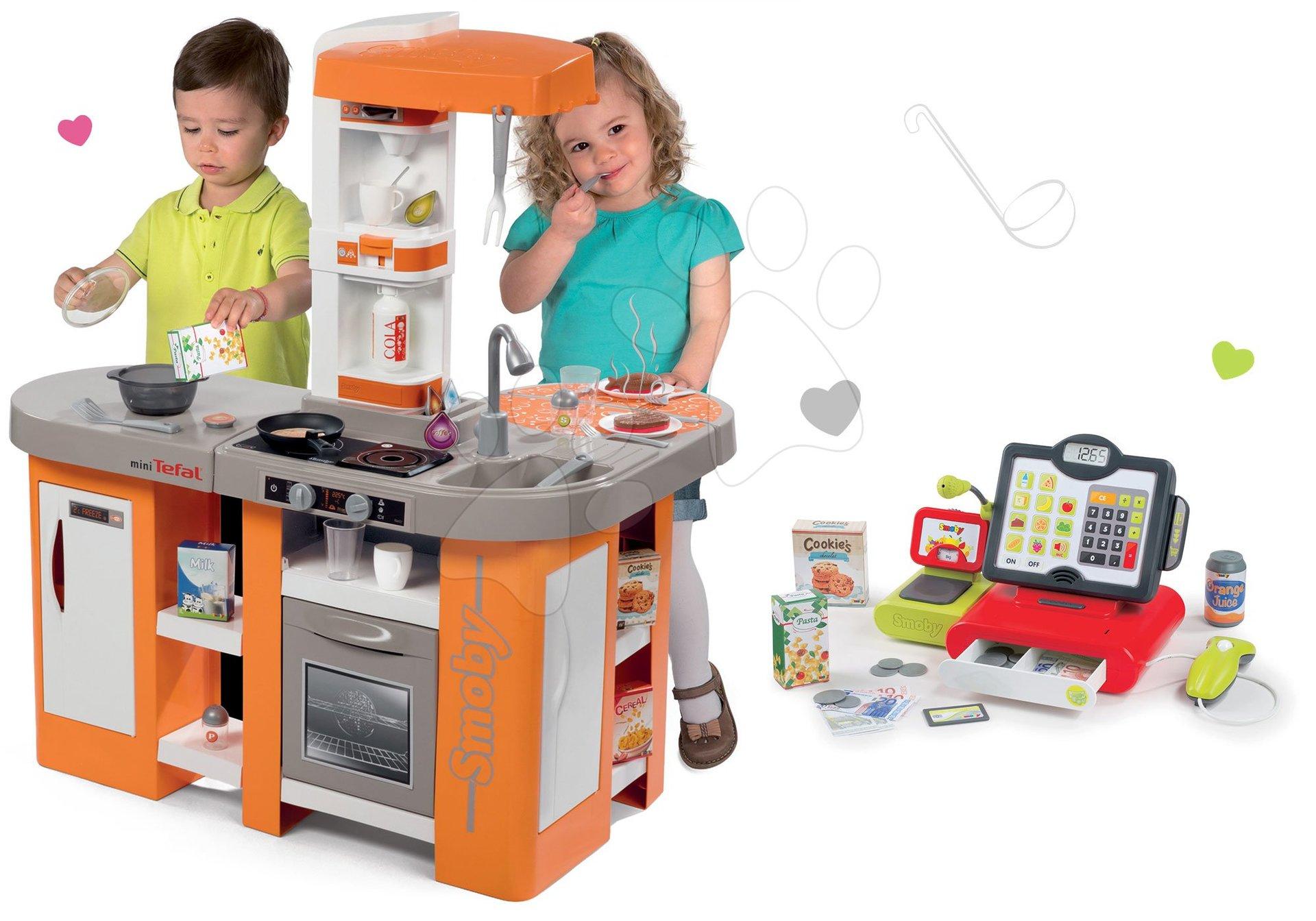 Kuchynky pre deti sety - Set kuchynka Tefal Studio XL Smoby so zvukmi a chladničkou a elektronická dotyková pokladňa
