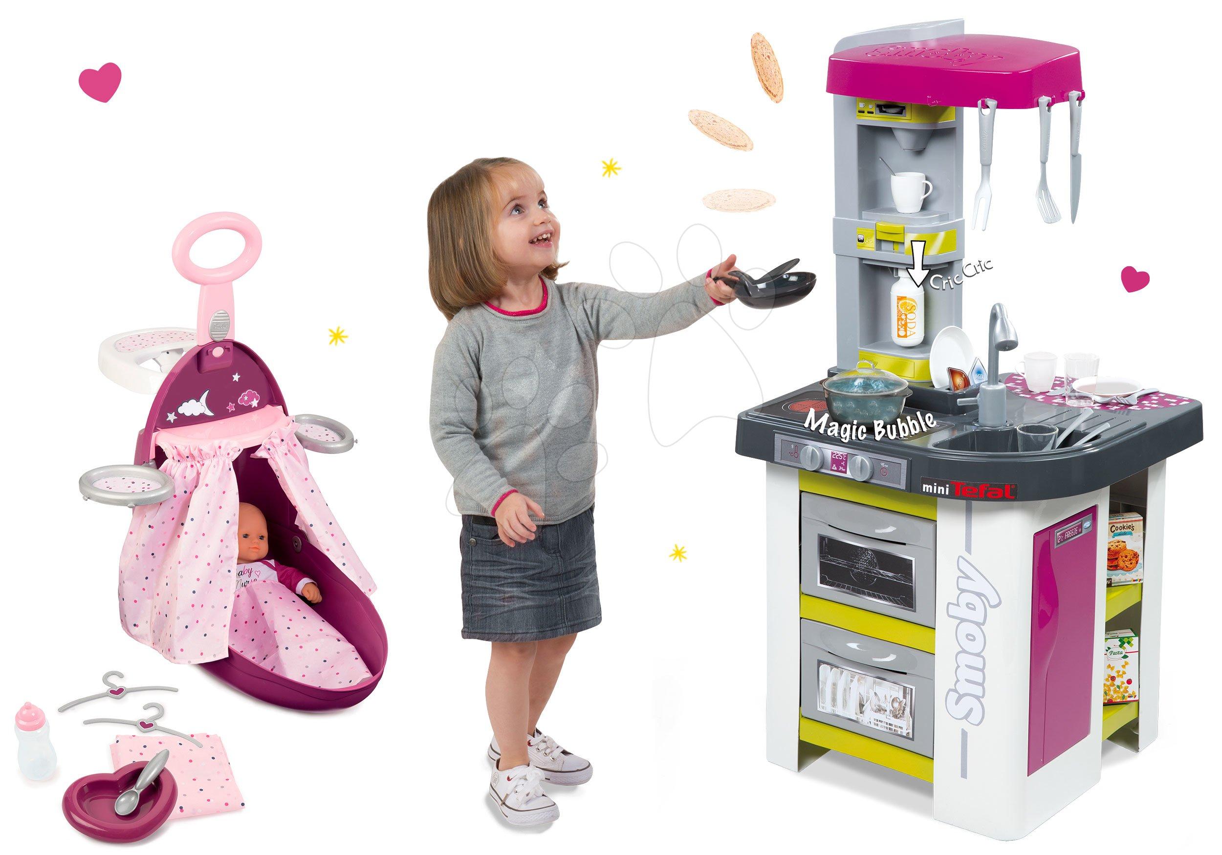 Smoby kuchynka Tefal Studio a vozík s postieľkou a stoličkou Baby Nurse 311027-10