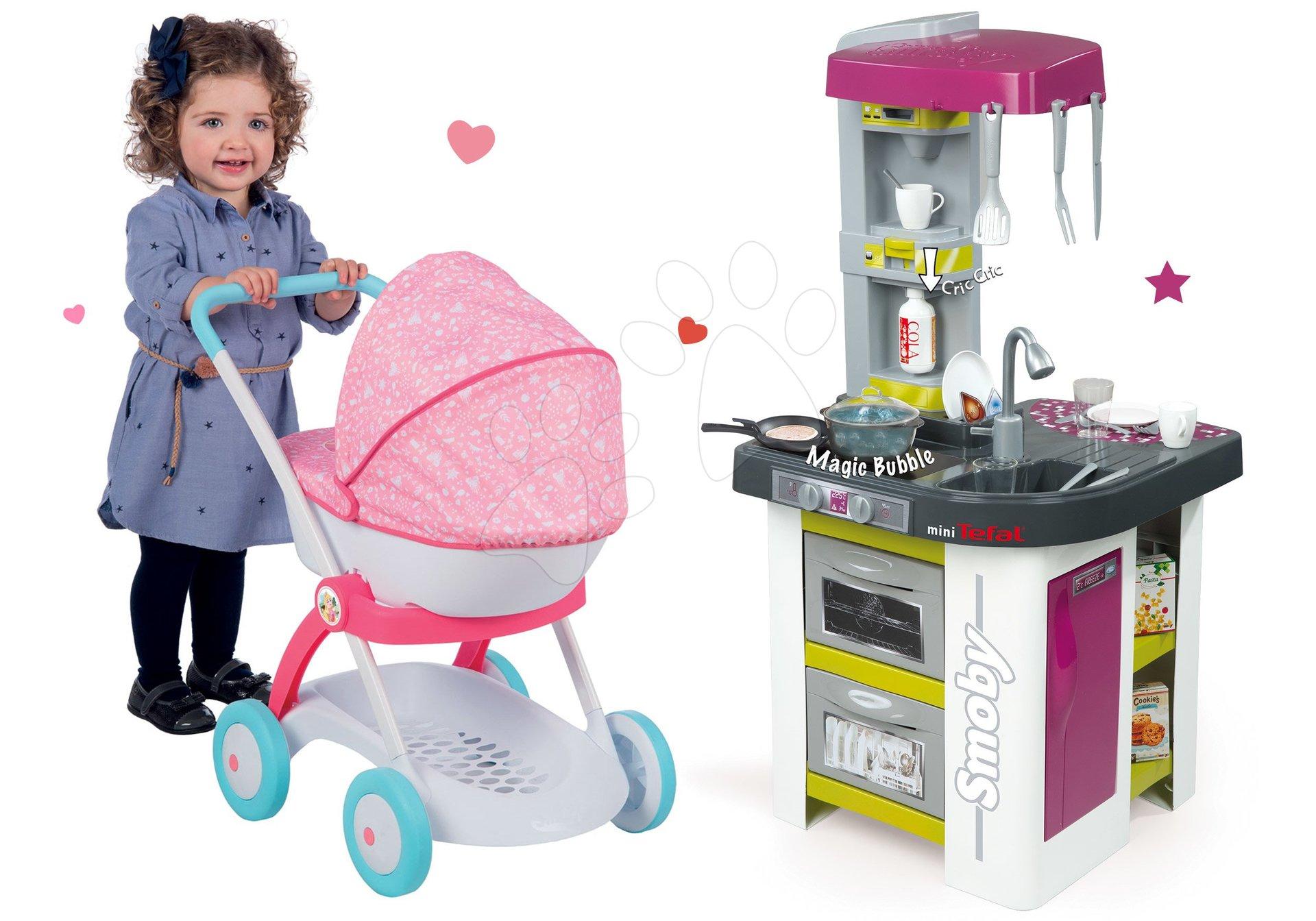 Smoby kuchynka Tefal Studio a kočík Baby Nurse 311027-11