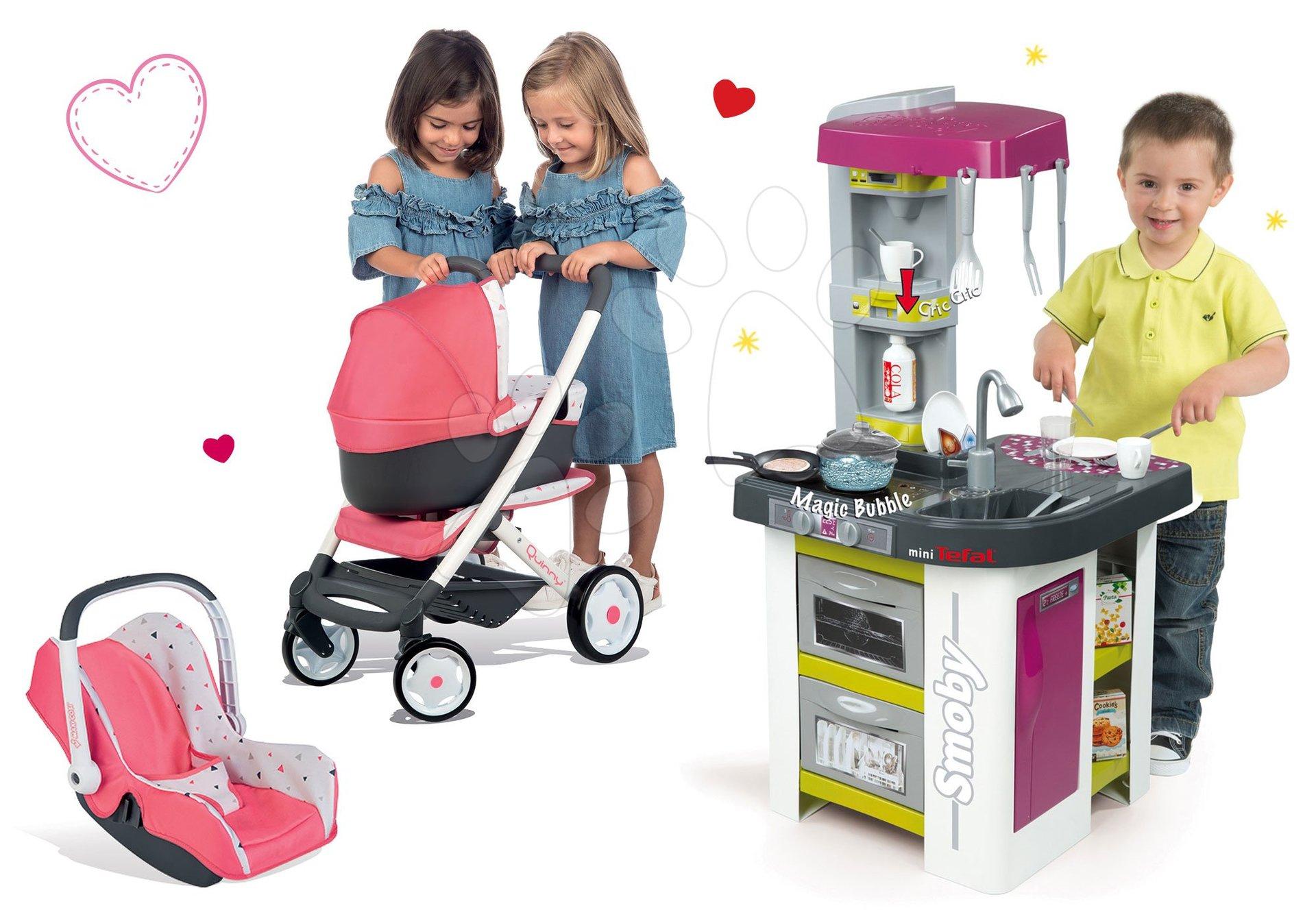 Kuchynky pre deti sety - Set kuchynka Tefal Studio BBQ Bublinky Smoby s magickým bublaním a kočík Maxi Cosi 3v1 s autosedačkou a hojdačkou