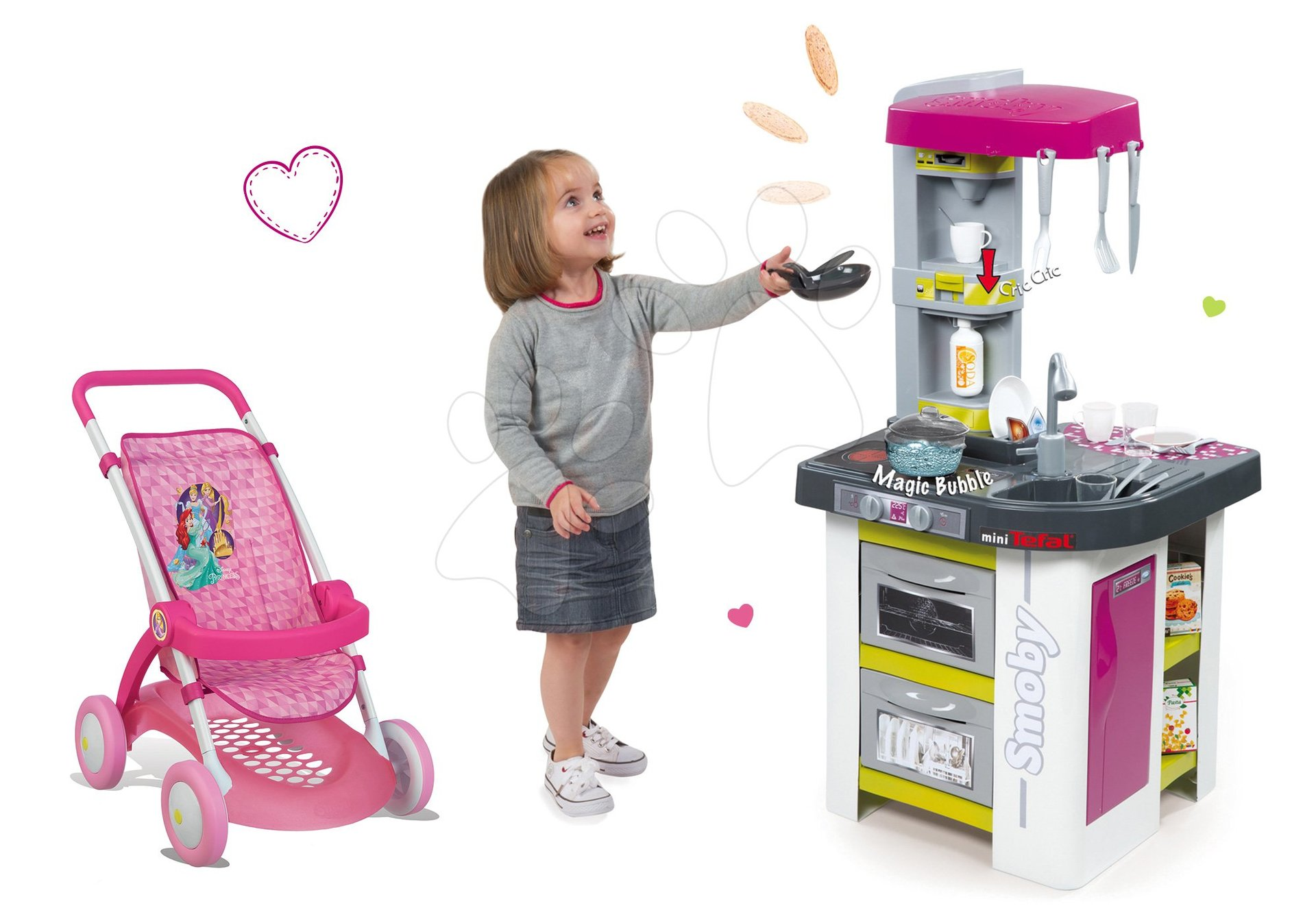 Kuchynky pre deti sety - Set kuchynka Tefal Studio BBQ Bublinky Smoby s magickým bublaním a kočík Princezné