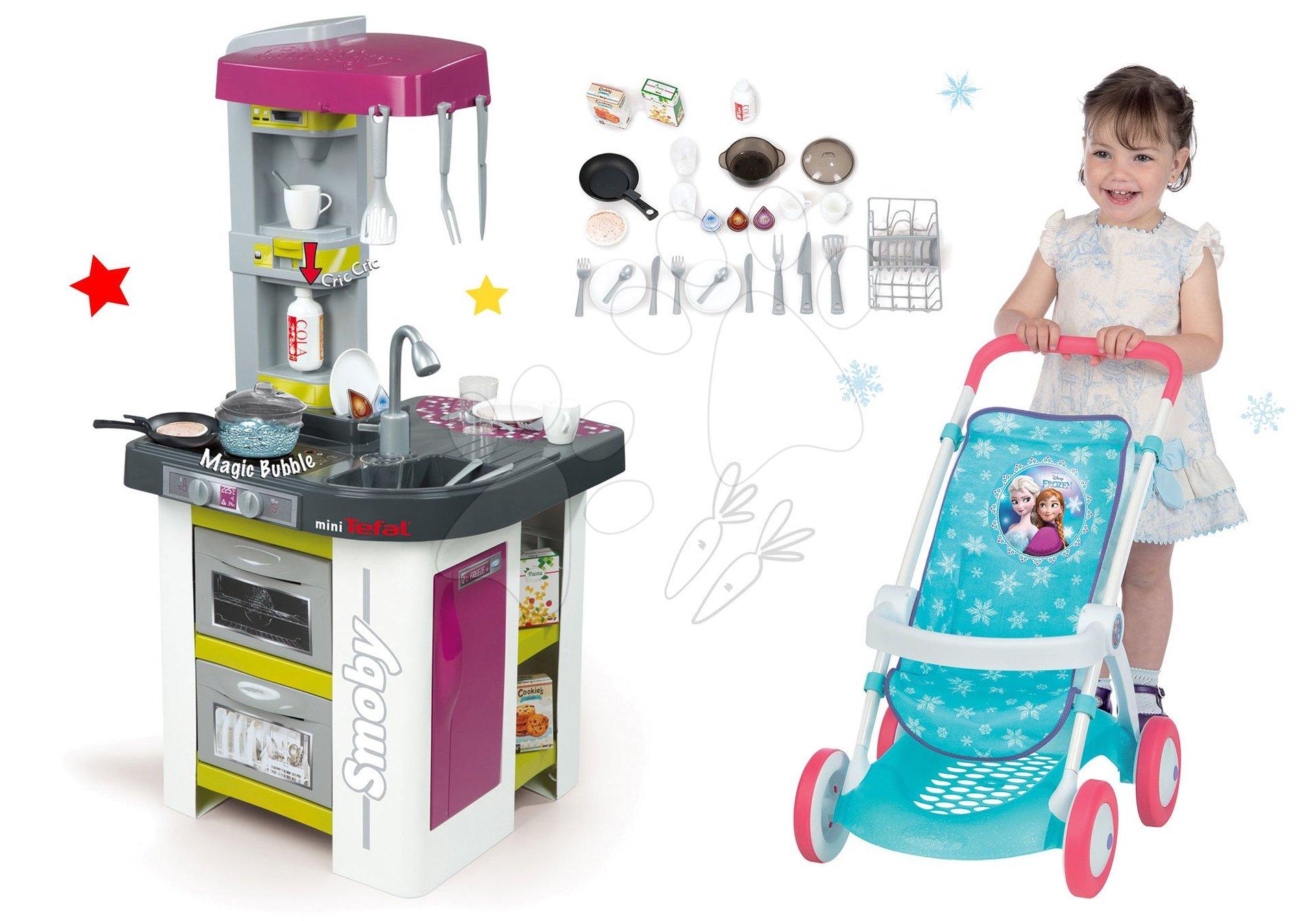 Kuchynky pre deti sety - Set kuchynka Tefal Studio BBQ Bublinky Smoby s magickým bublaním a športový kočík pre bábiku Frozen