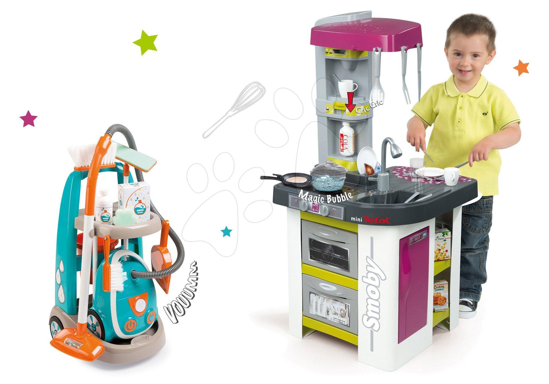 Set kuchyňka Tefal Studio Barbecue Smoby s magickým bubláním a úklidový vozík s elektronickým vysavačem