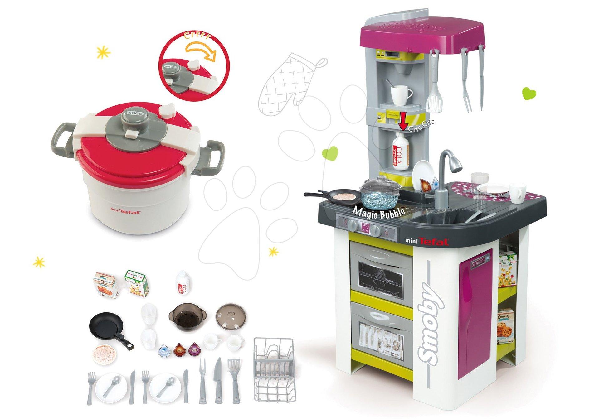 Kuchynky pre deti sety - Set kuchynka Tefal Studio BBQ Bublinky Smoby s magickým bublaním a tlakový hrniec Tefal