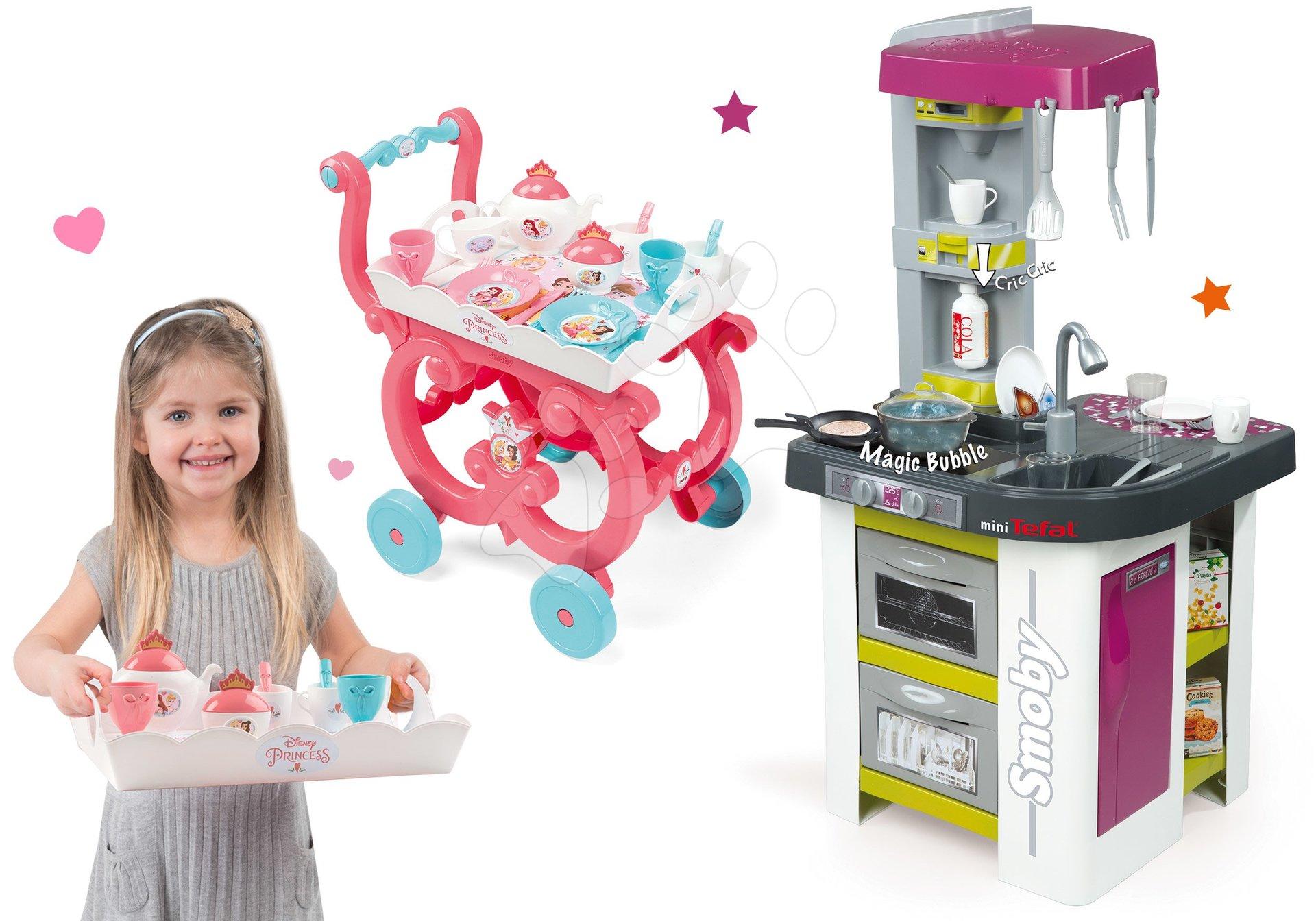 Set kuchyňka Tefal Studio Barbecue Smoby s magickým bubláním a servírovací vozík se snídaní