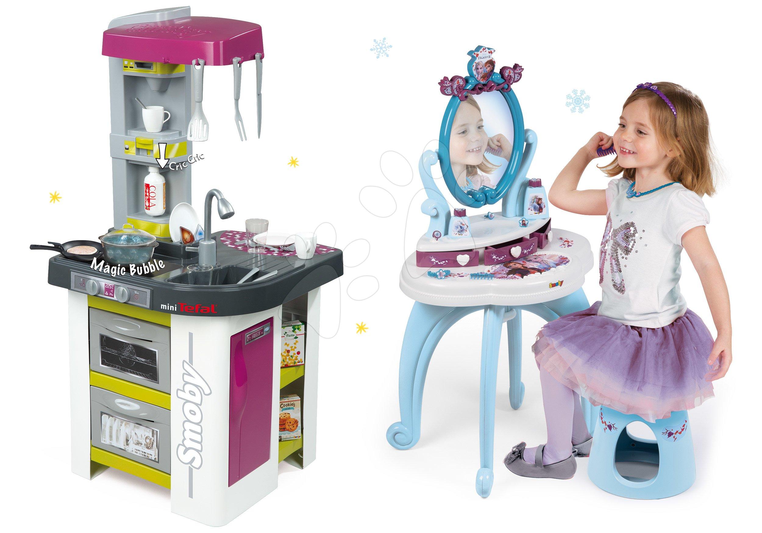 Smoby set detská kuchynka Tefal Studio Barbecue a kozmetický stolík Frozen 311027-26