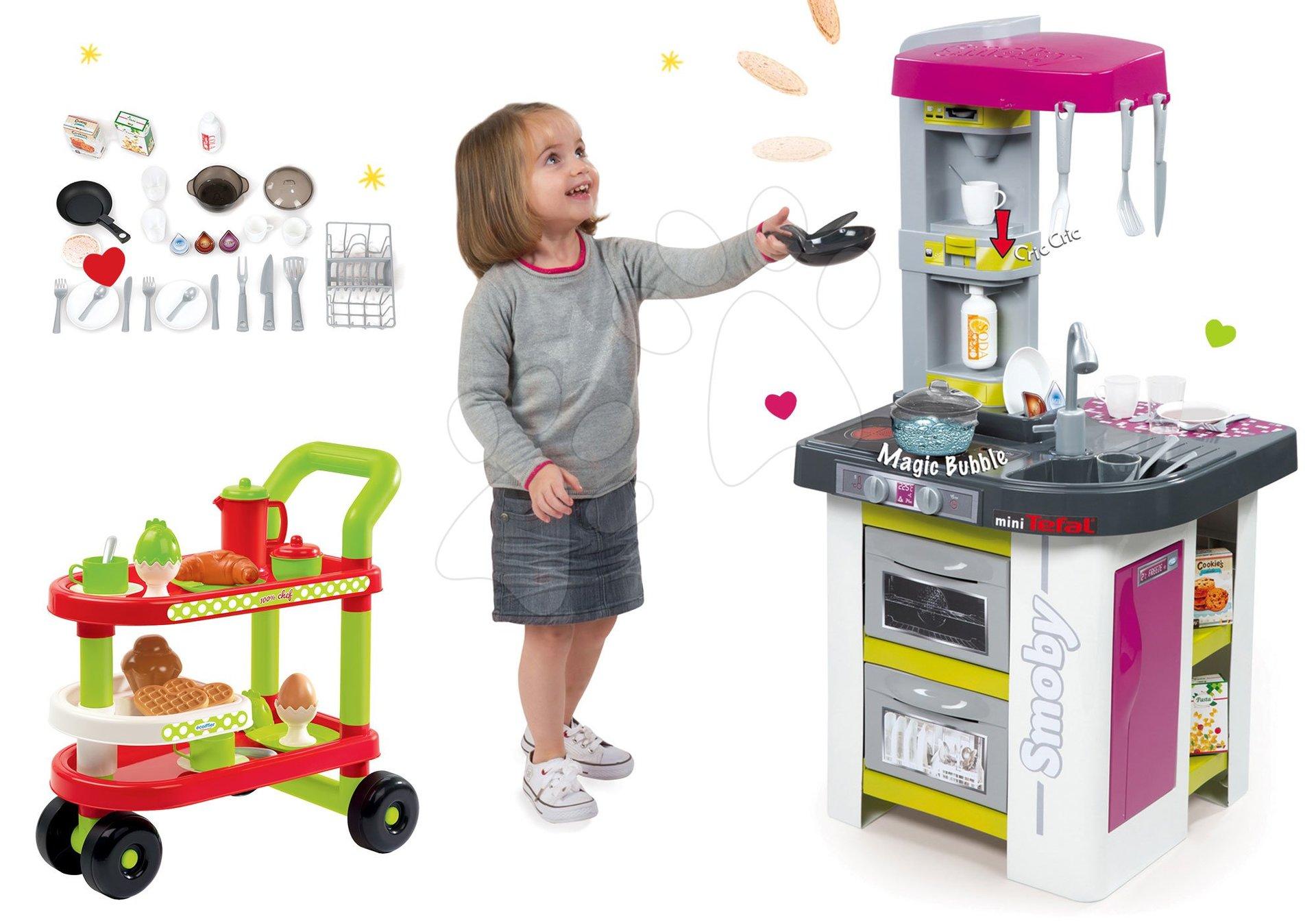 Smoby set kuchyňka Tefal Studio Barbecue s s bubláním, grilem a servírovací vozík se snídaní 100% Chef 311027-29