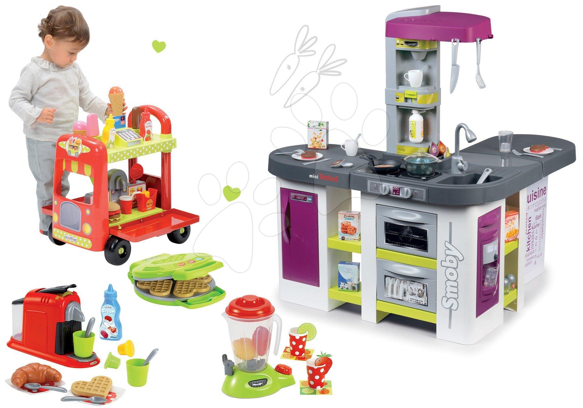 Smoby set kuchynka elektronická Tefal Studio XXL Bubble a vozík so zmrzlinou a hamburgermi a vaflovač s doplnkami 311033-10